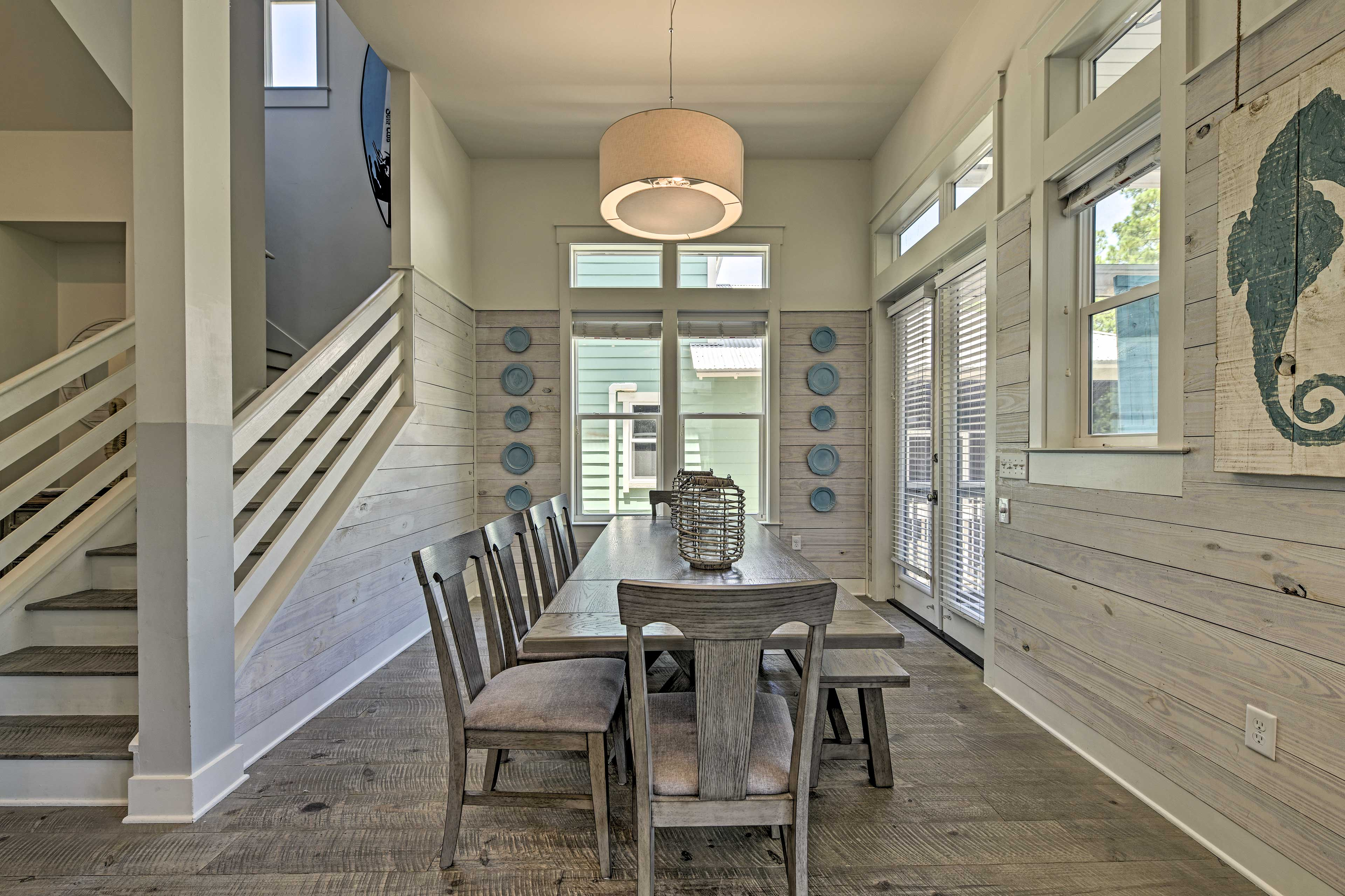 Enjoy a family-style meal at the farmhouse dining table.