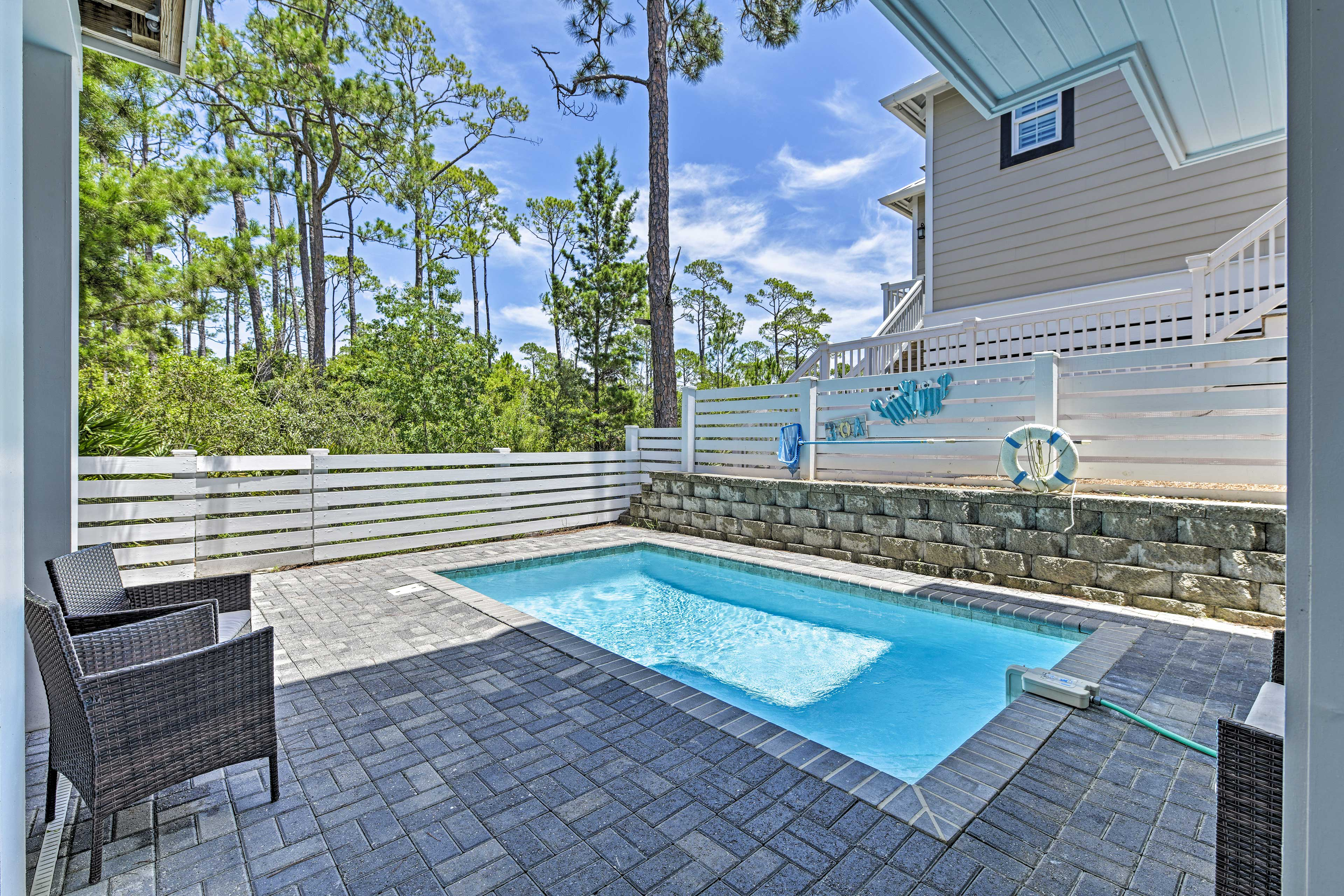 The pool can be heated for an additional fee.