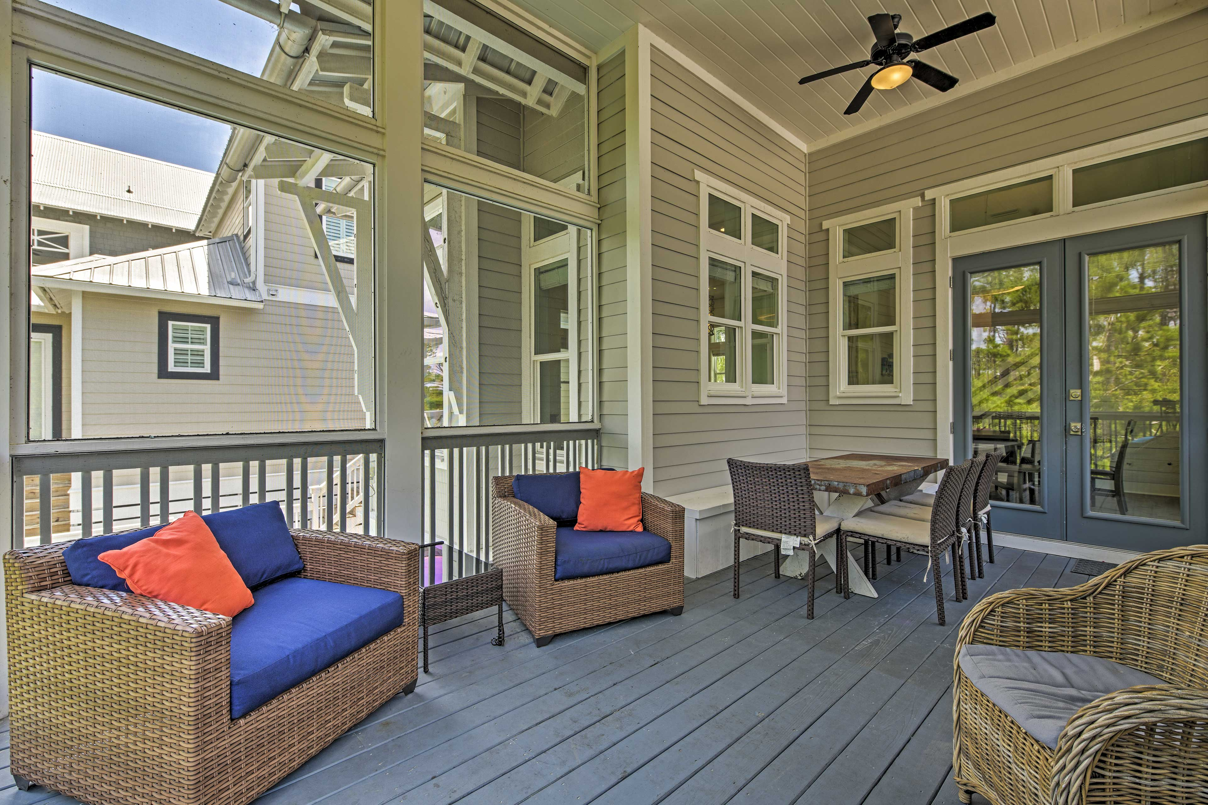 The vacation rental boasts a beautiful sunroom, 2 master bedrooms & more!