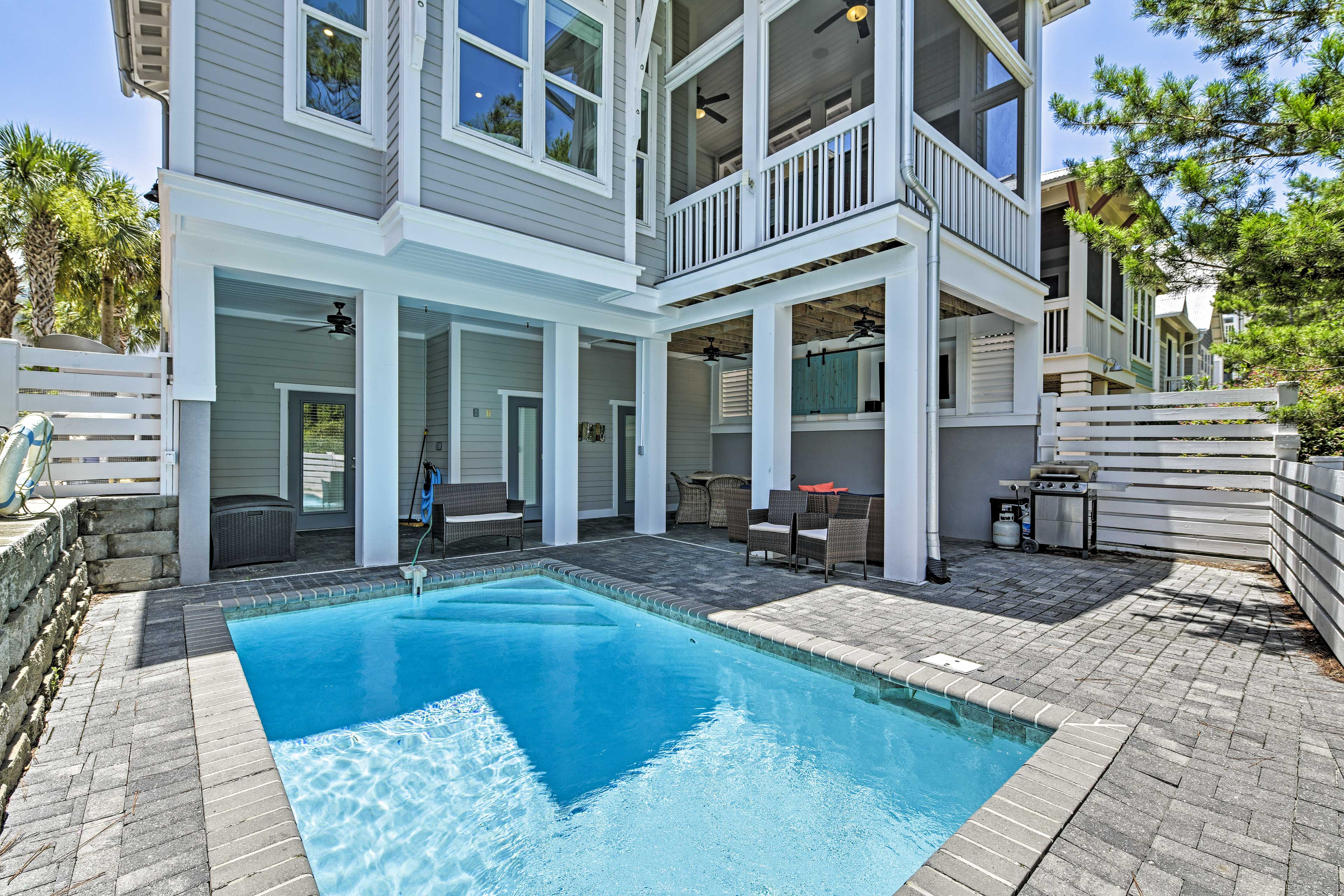 Spend afternoons lounging on the covered deck or splashing in the private pool!