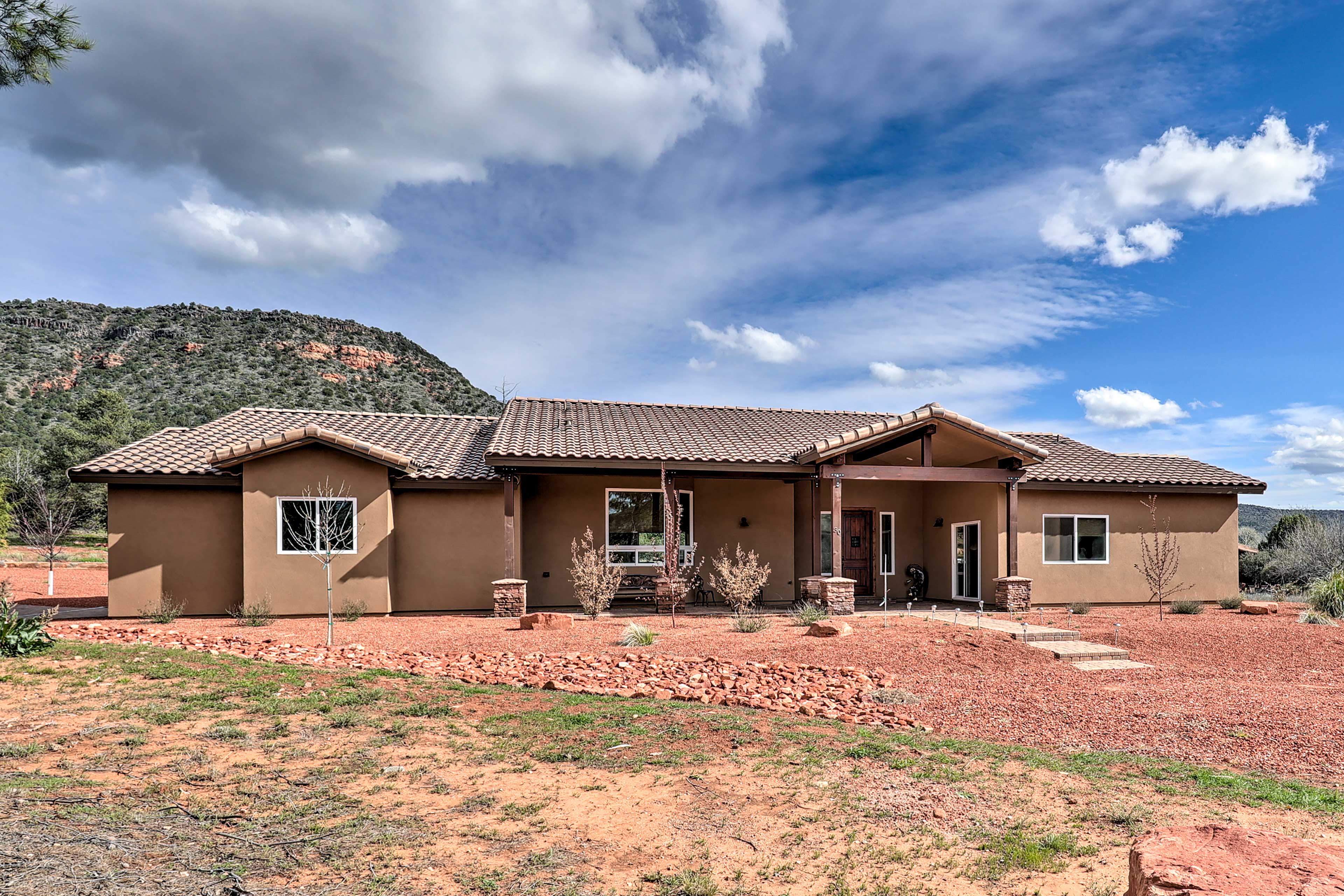 This spacious home offers great views of the mountains.