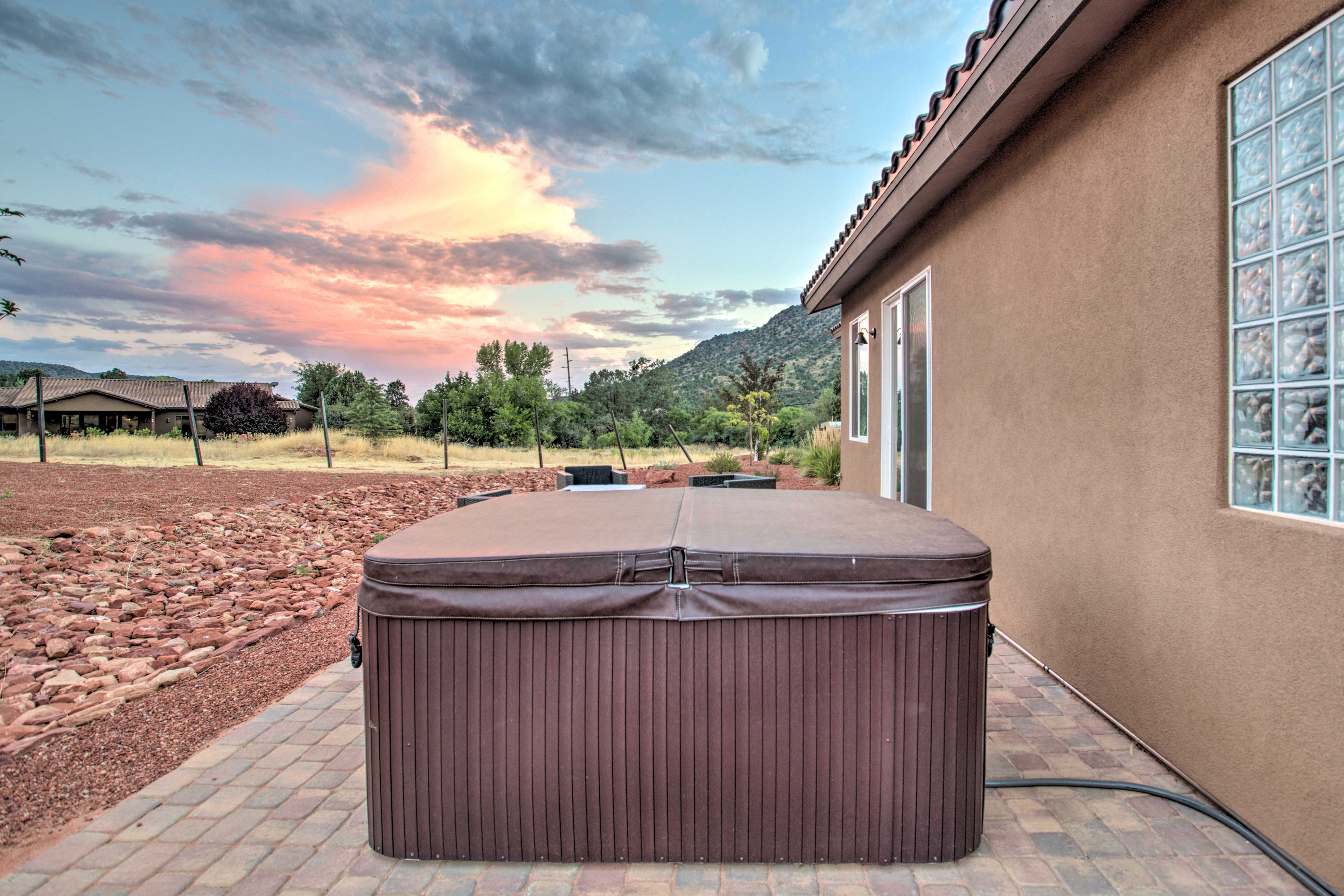 Catch the sunset from your private hot tub.