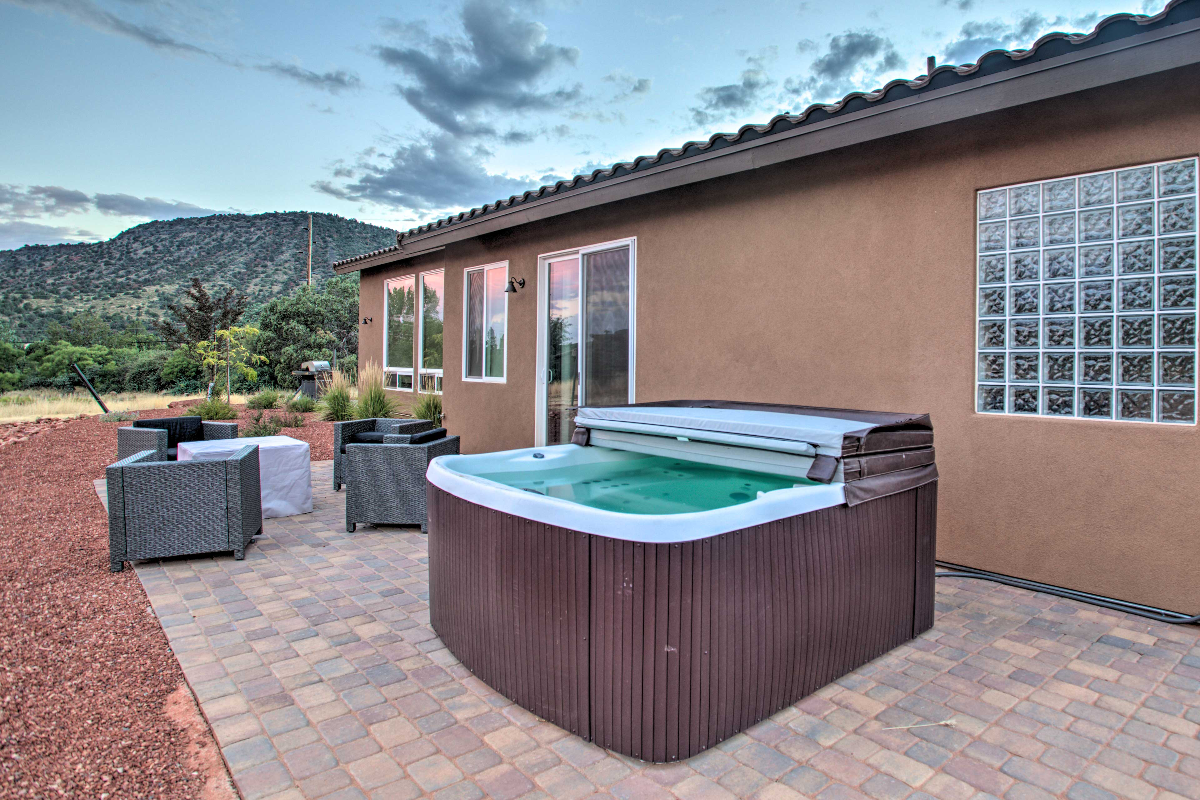 Go for a dip in this newly added hot tub!