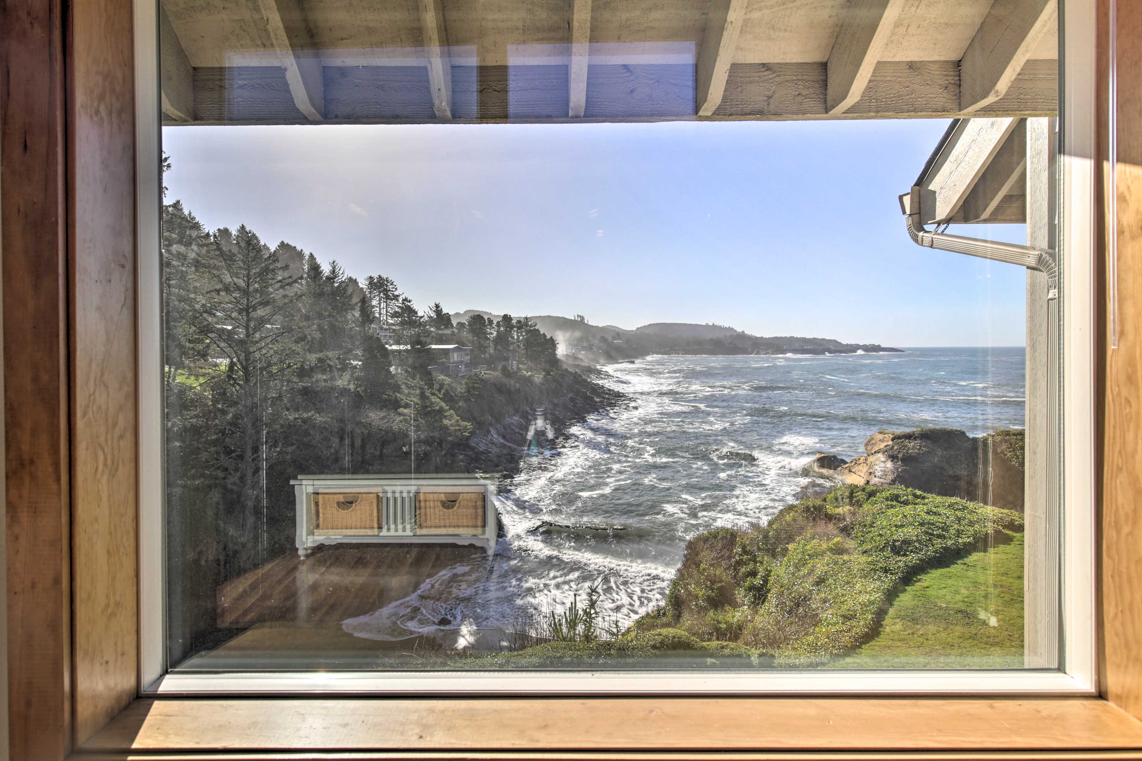 Keep an eye out for whales from the large windows.