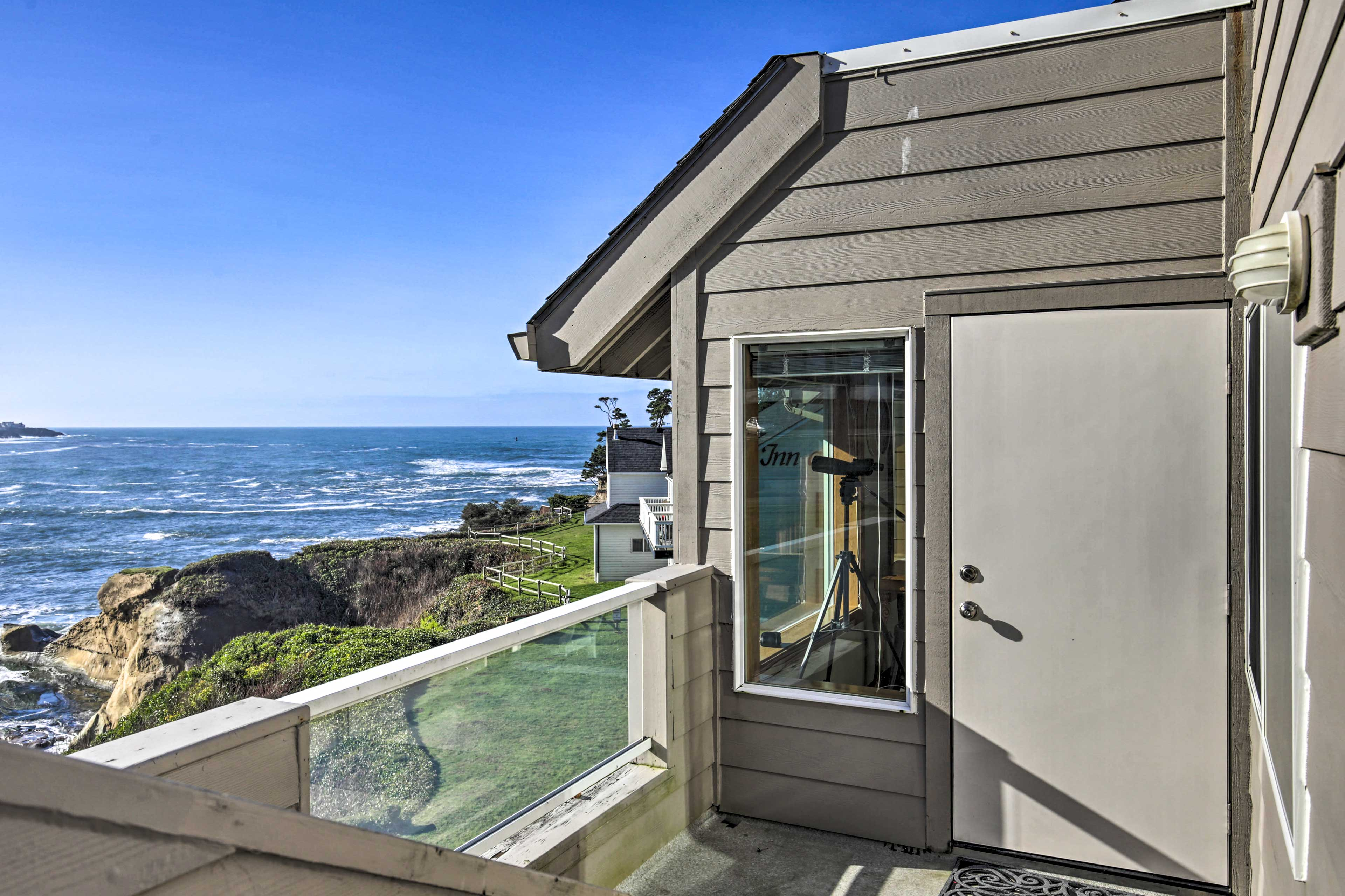 Enjoy panoramic ocean views from the private balcony.
