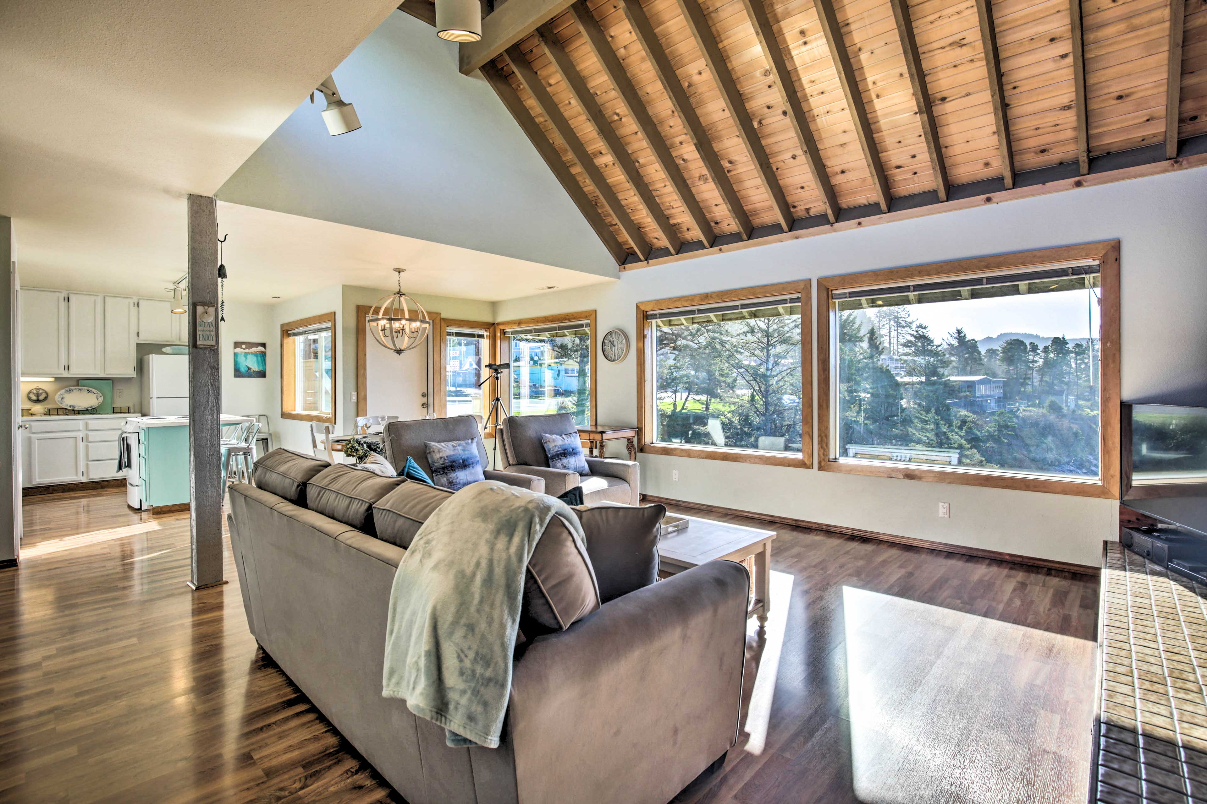 The large windows fill the space with natural light.