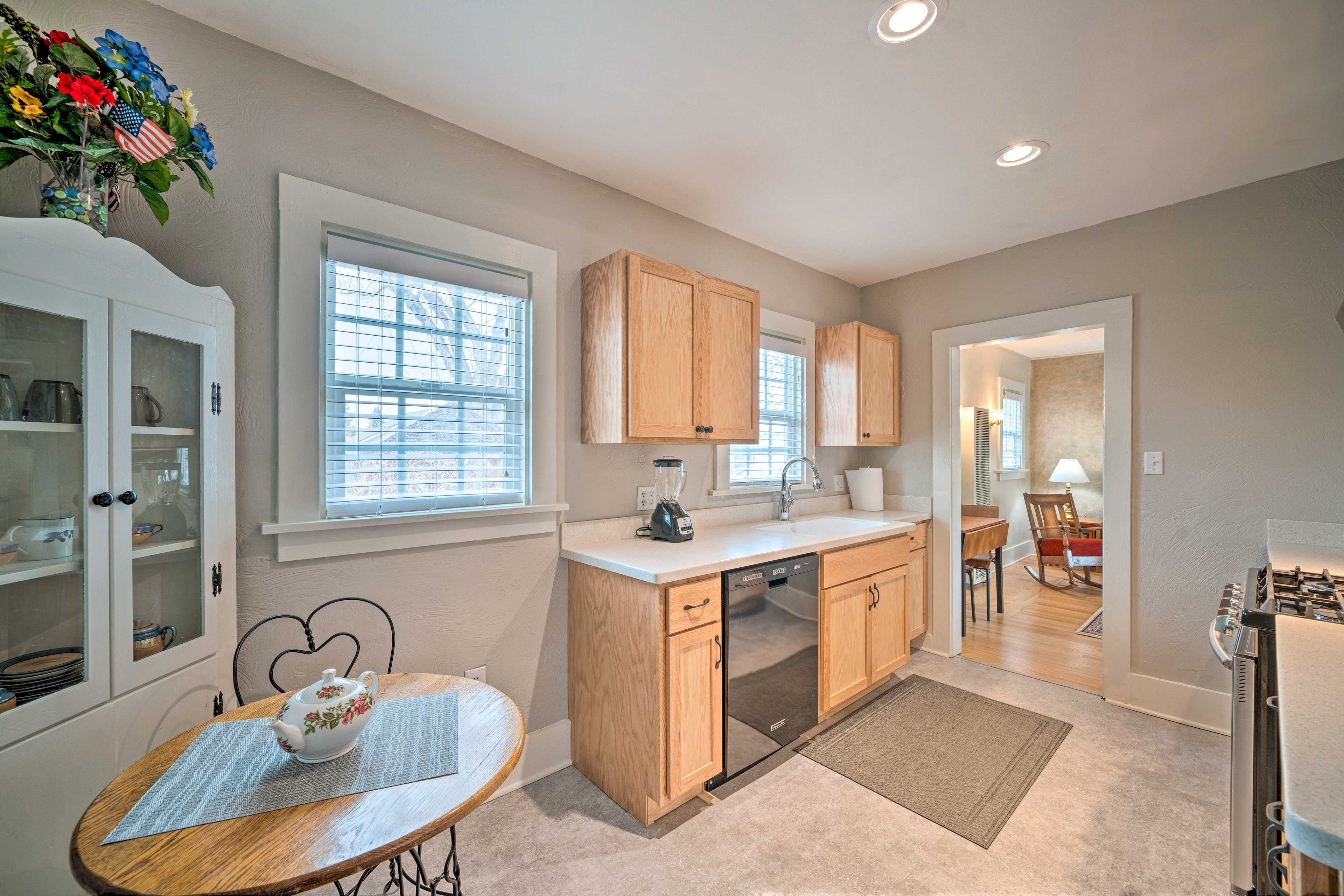 Enjoy a quiet breakfast in the light and airy kitchen.