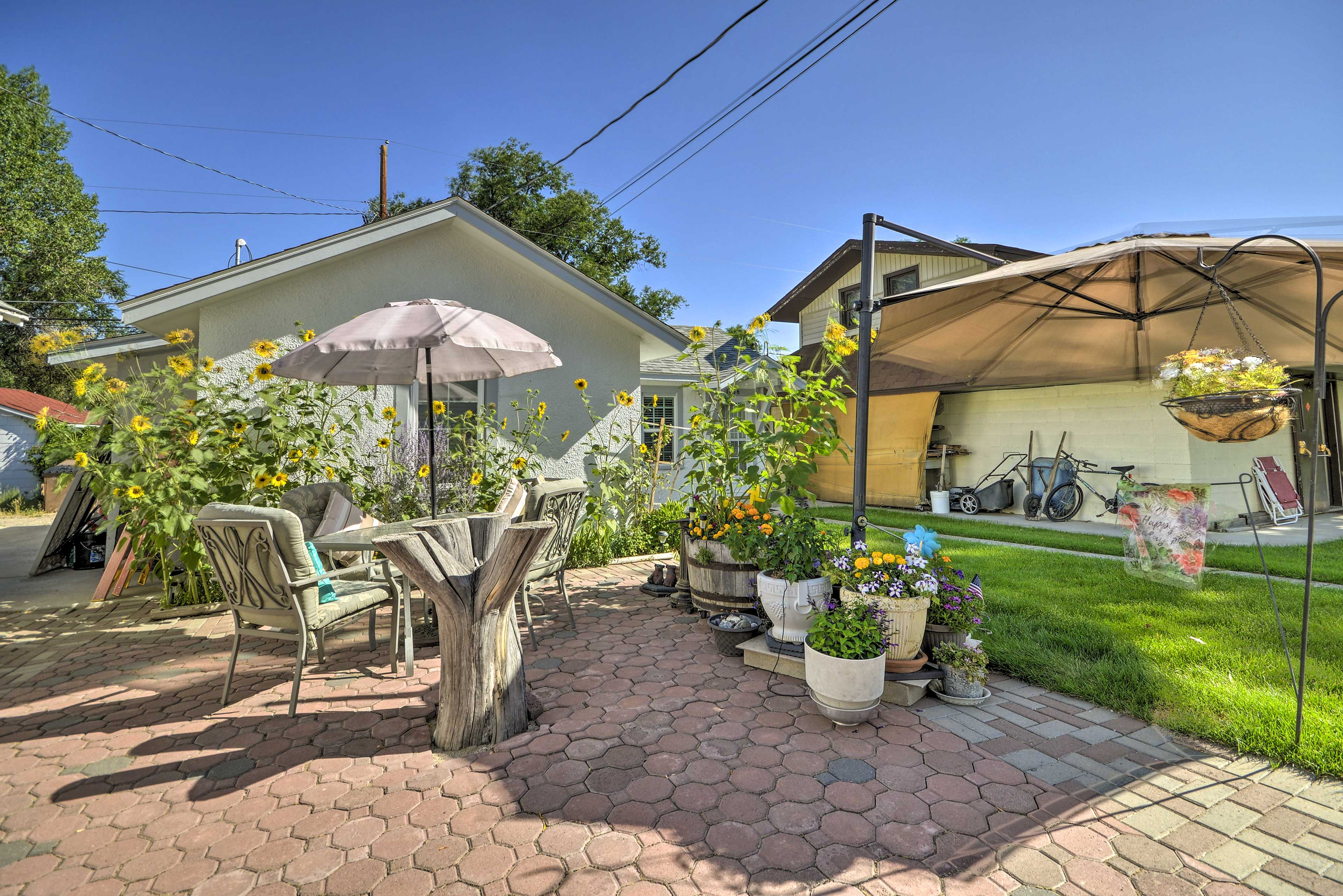 Enjoy the patio space with friends on a warm summer day.