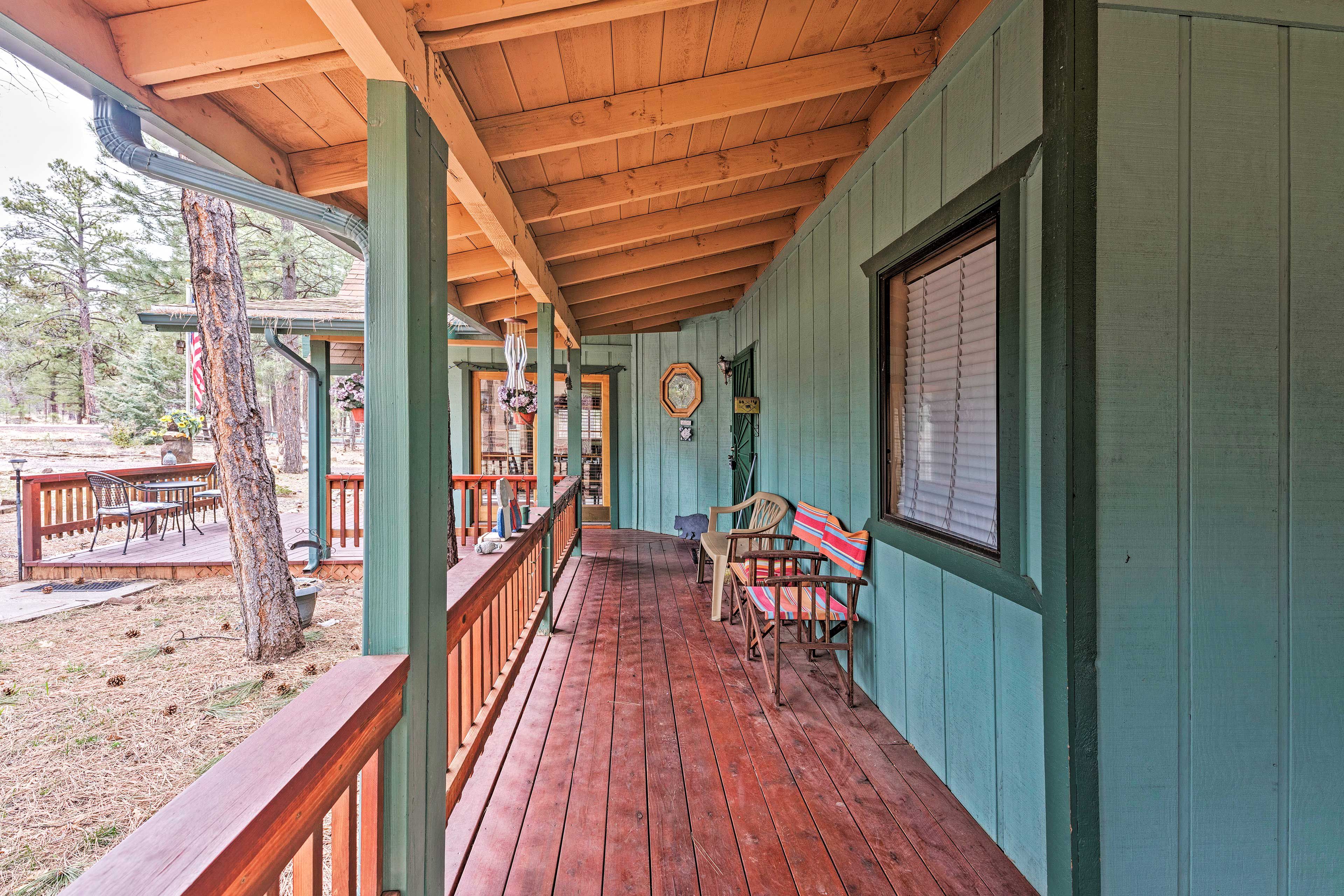 You'll find a large wraparound deck outside with plenty of space to barbecue.