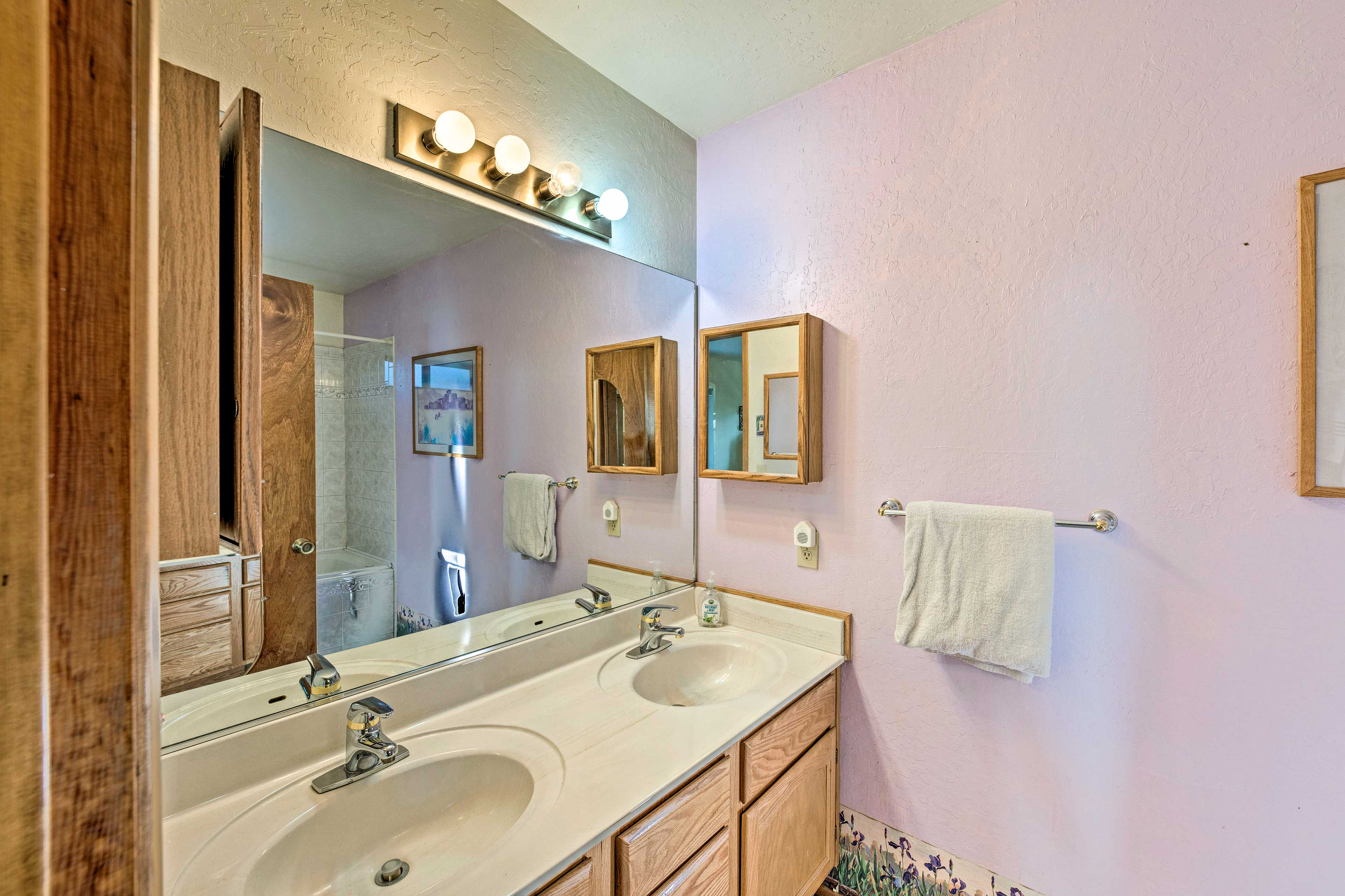 Brush your teeth in front of the dual sinks.