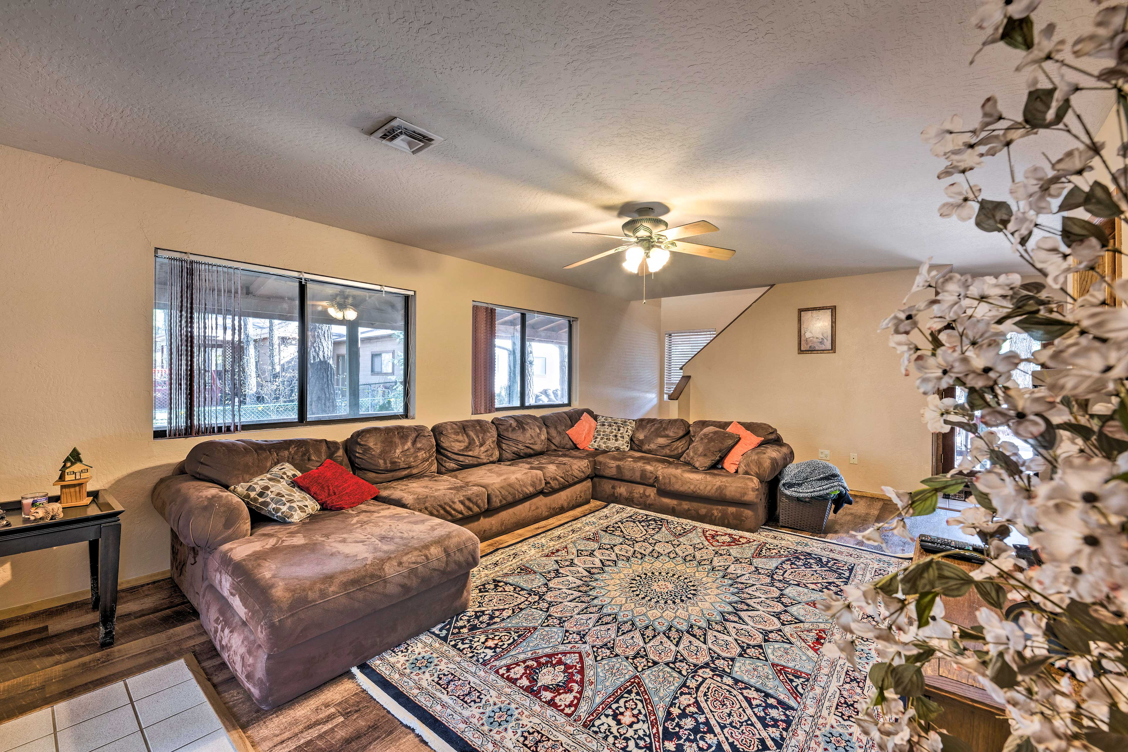 Relax on this spacious couch for a late-night movie on the DVD or BluRay Player.