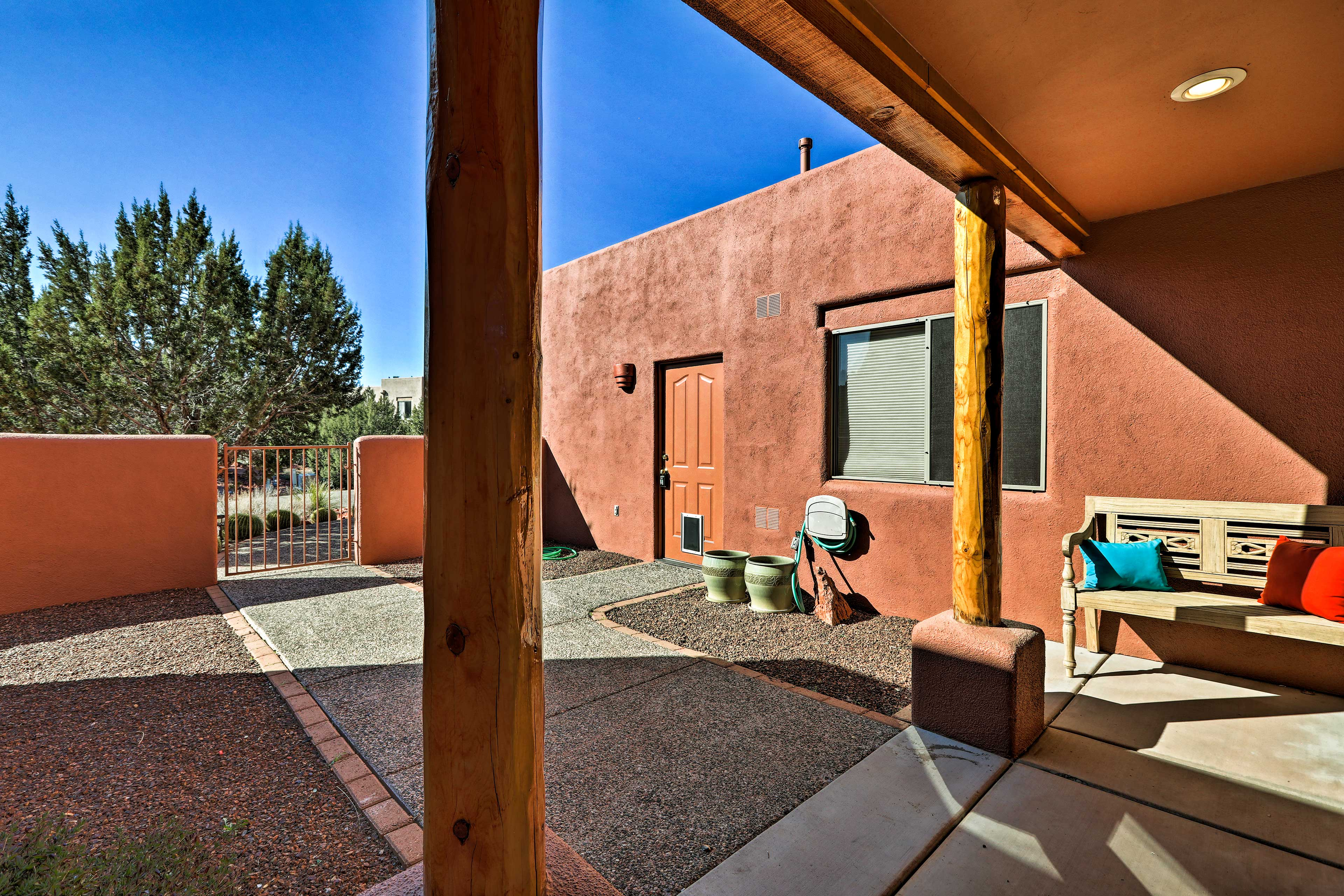 Start each day on the front patio with a cup of joe.