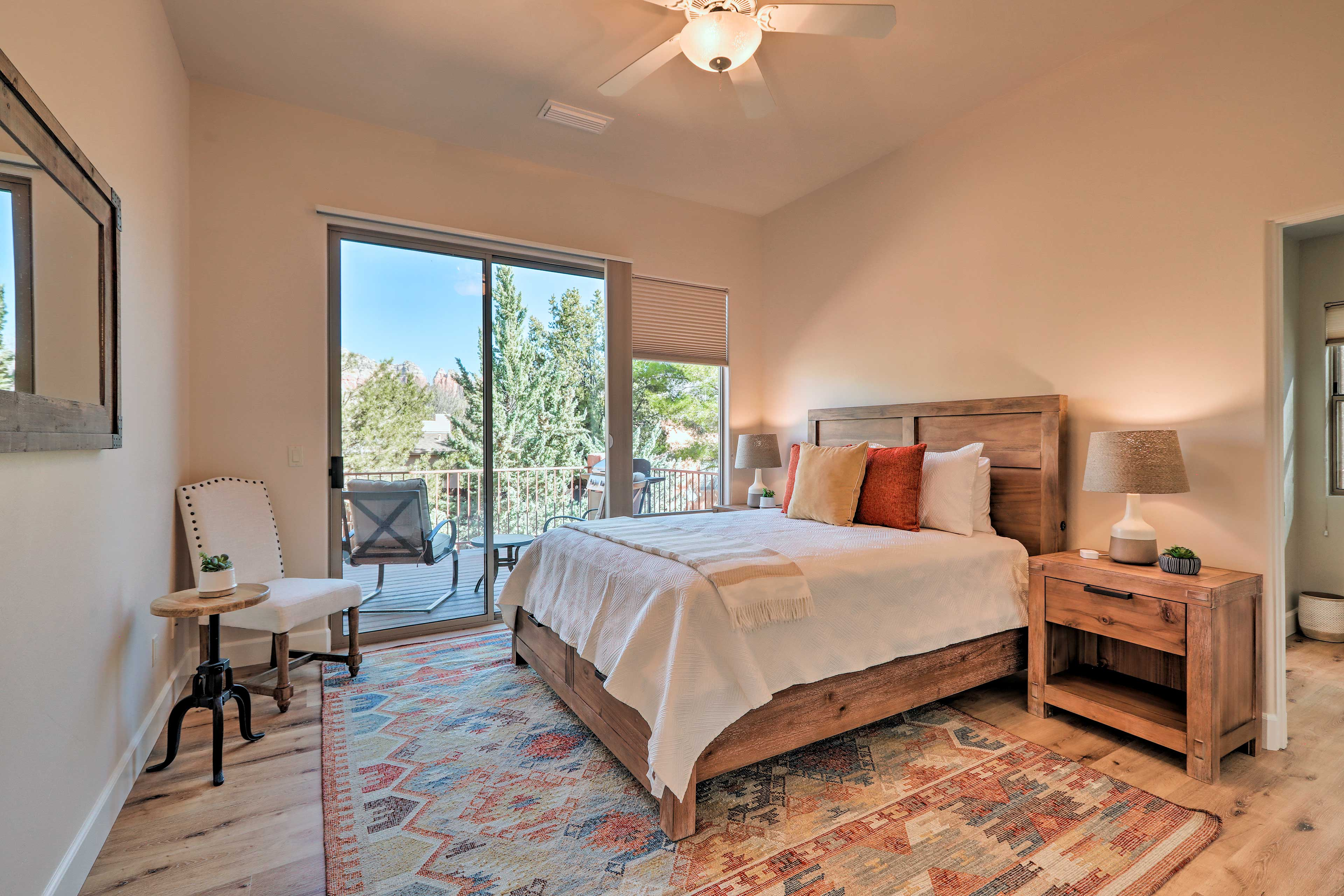 Southwestern decor spices up the neutral walls.