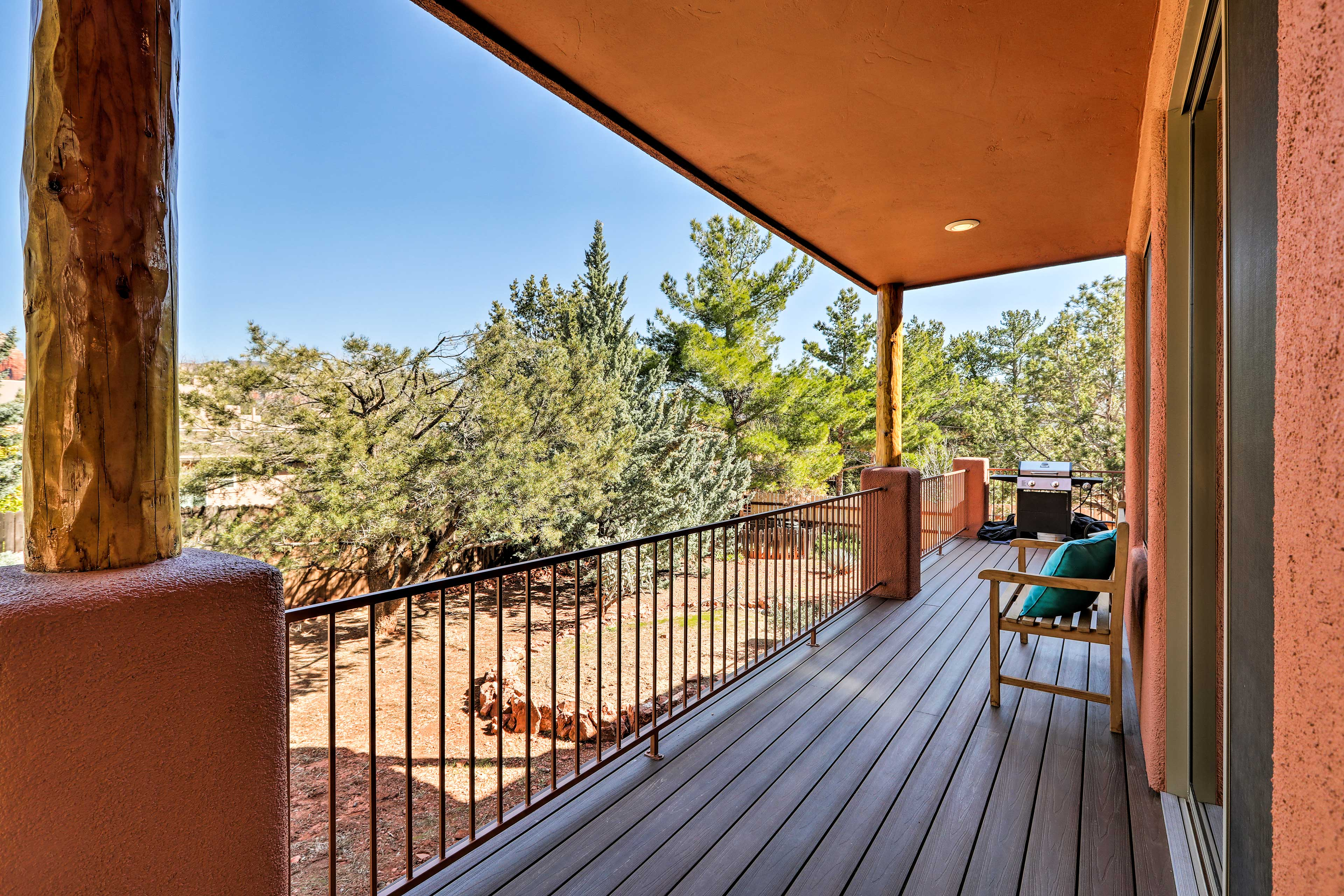 Soak in the red rock views from the covered deck.