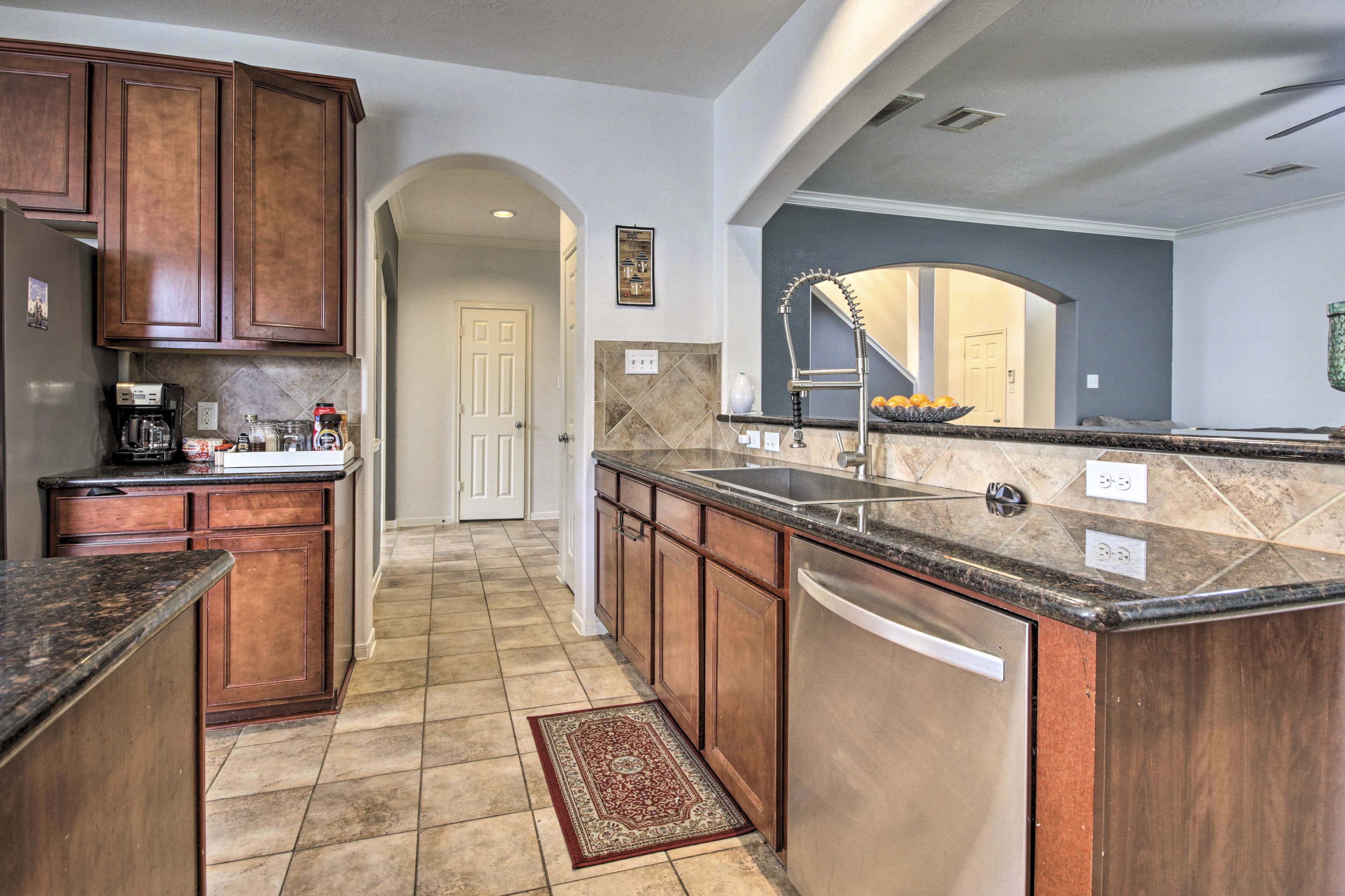 All the essentials are provided in the kitchen, including a dishwasher!