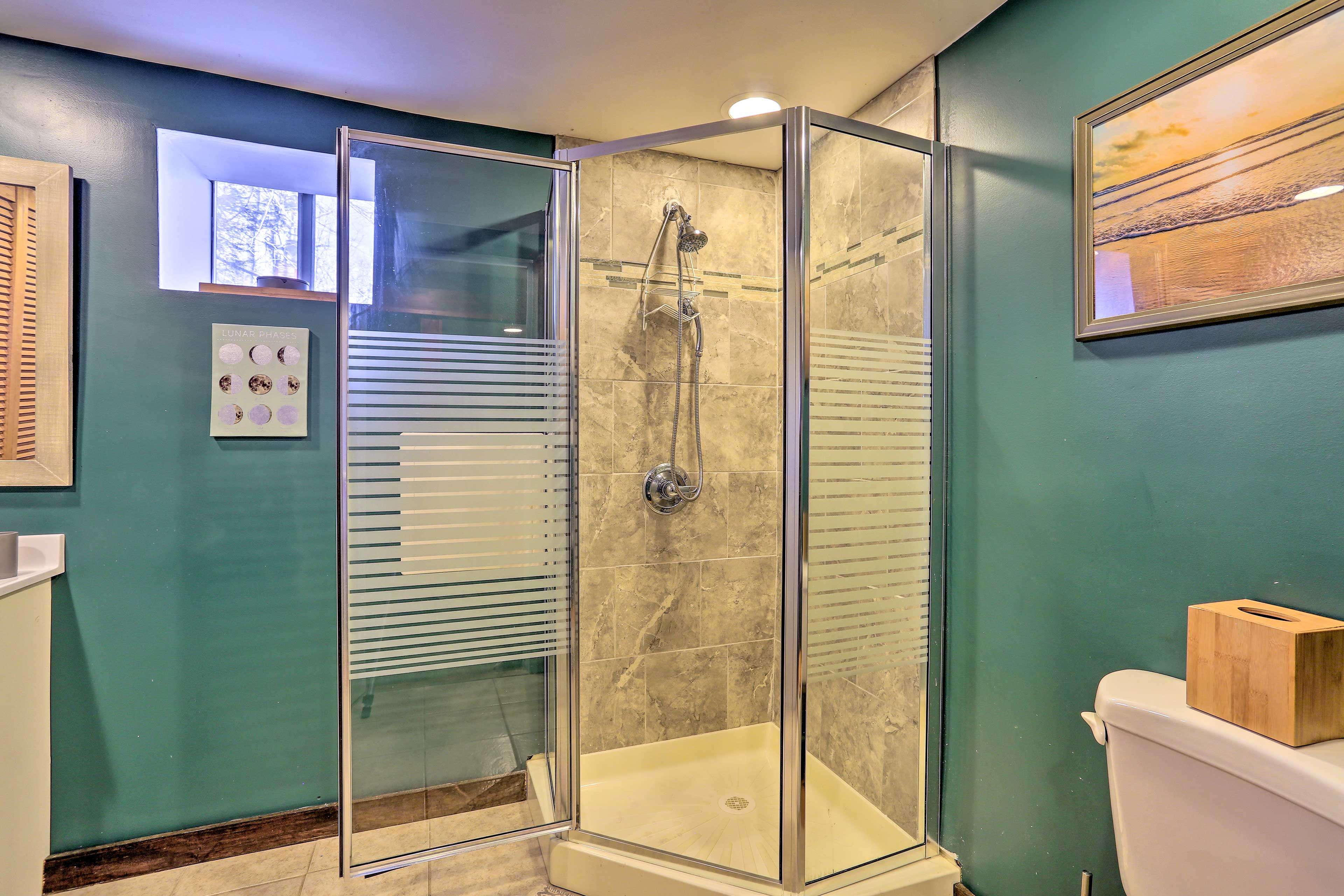 Rinse off the lake in the walk-in shower.