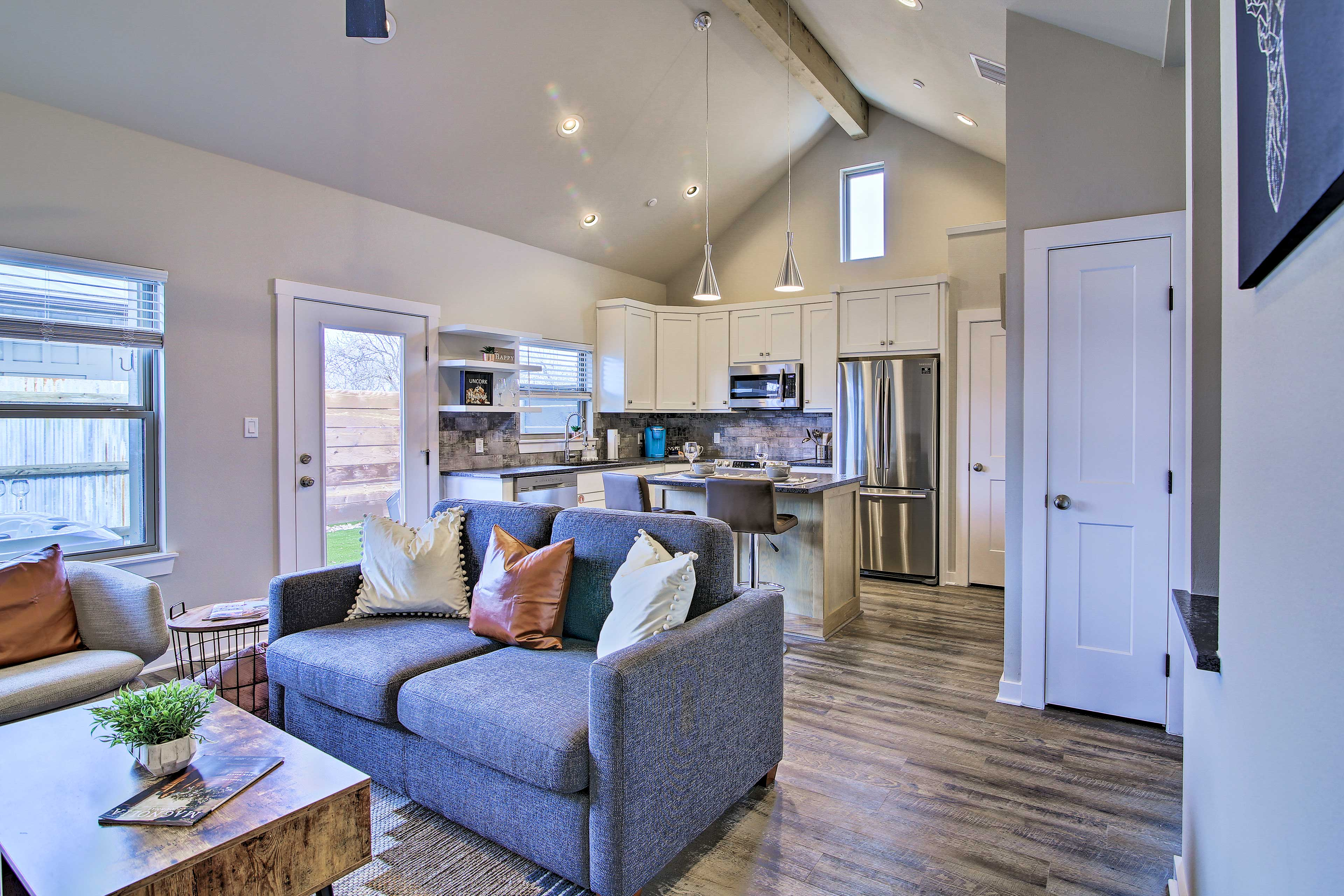 The open-concept layout fills with natural sunlight each morning.
