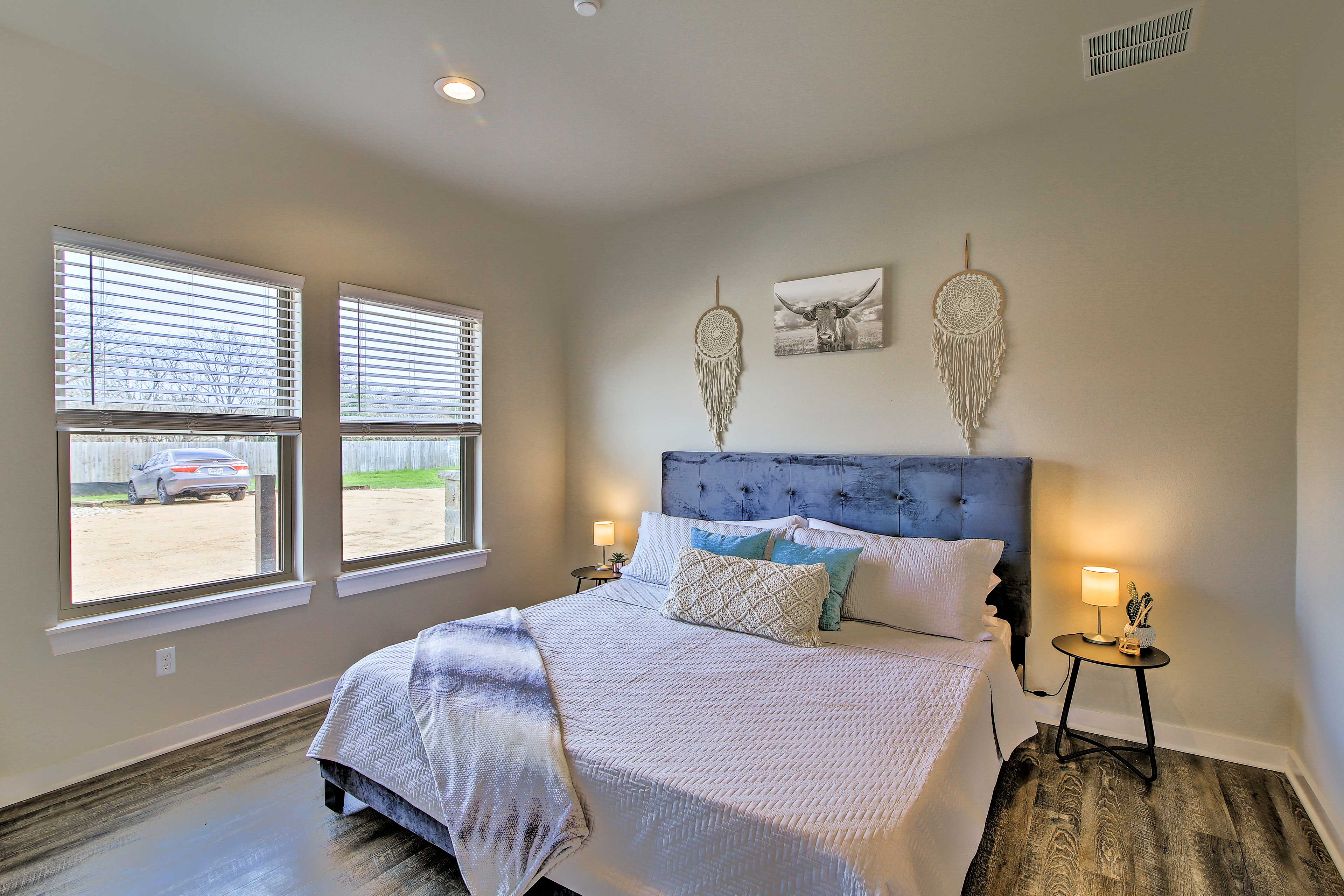 The master bedroom has a king-sized bed for 2.