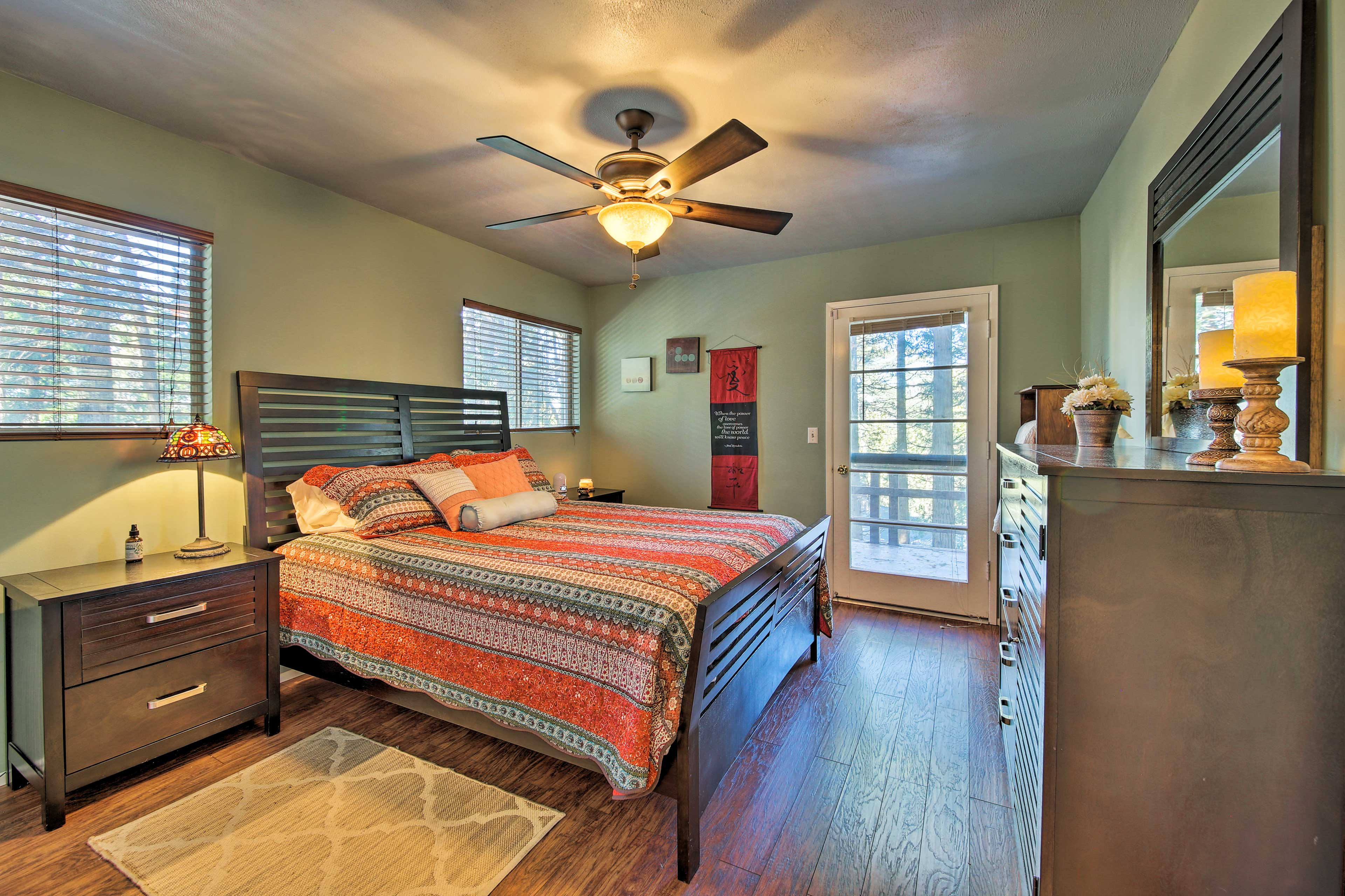 Curl up with your loved one in the master bedroom's queen bed.