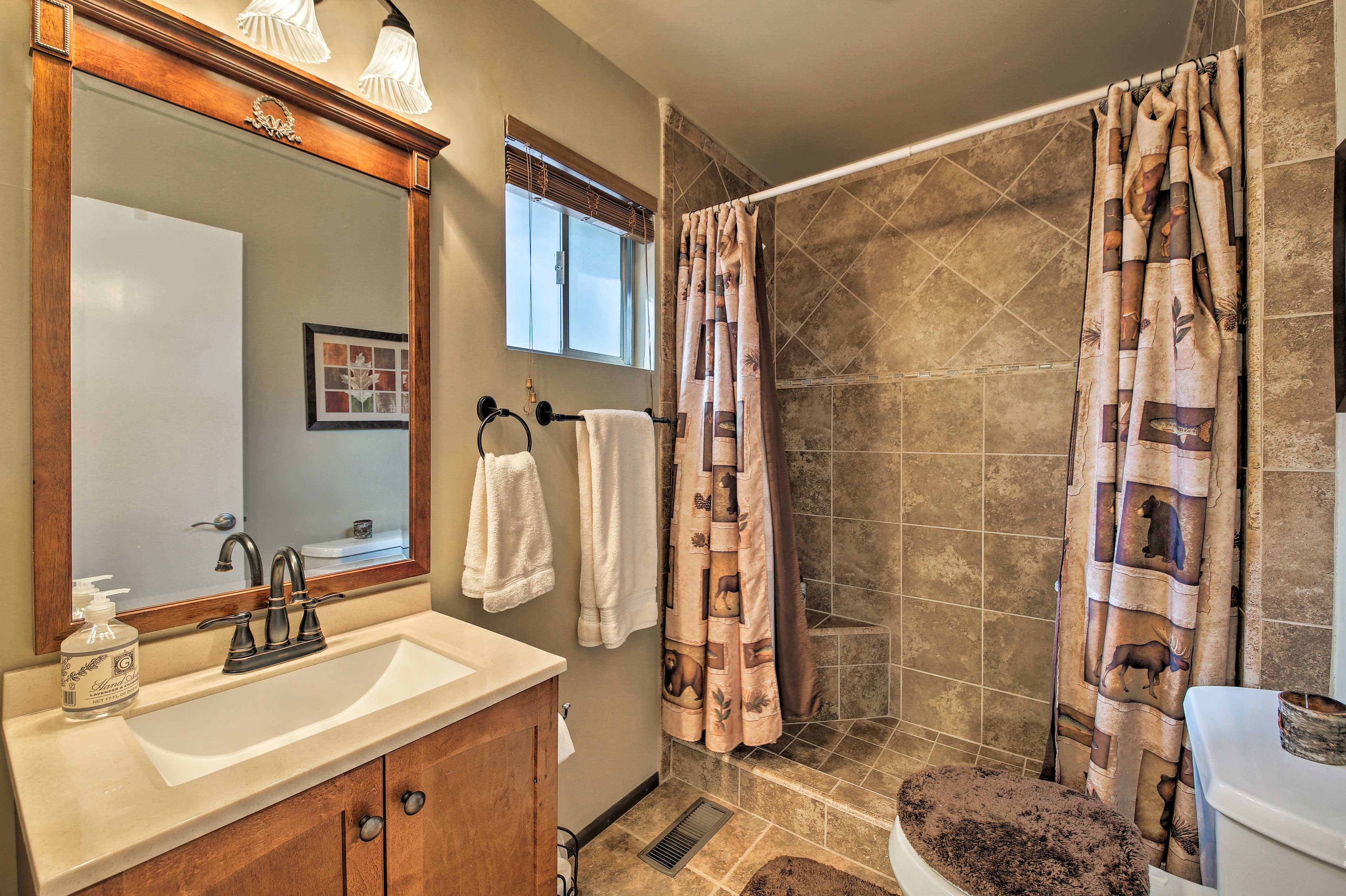 This bathroom sits right off the main living area.