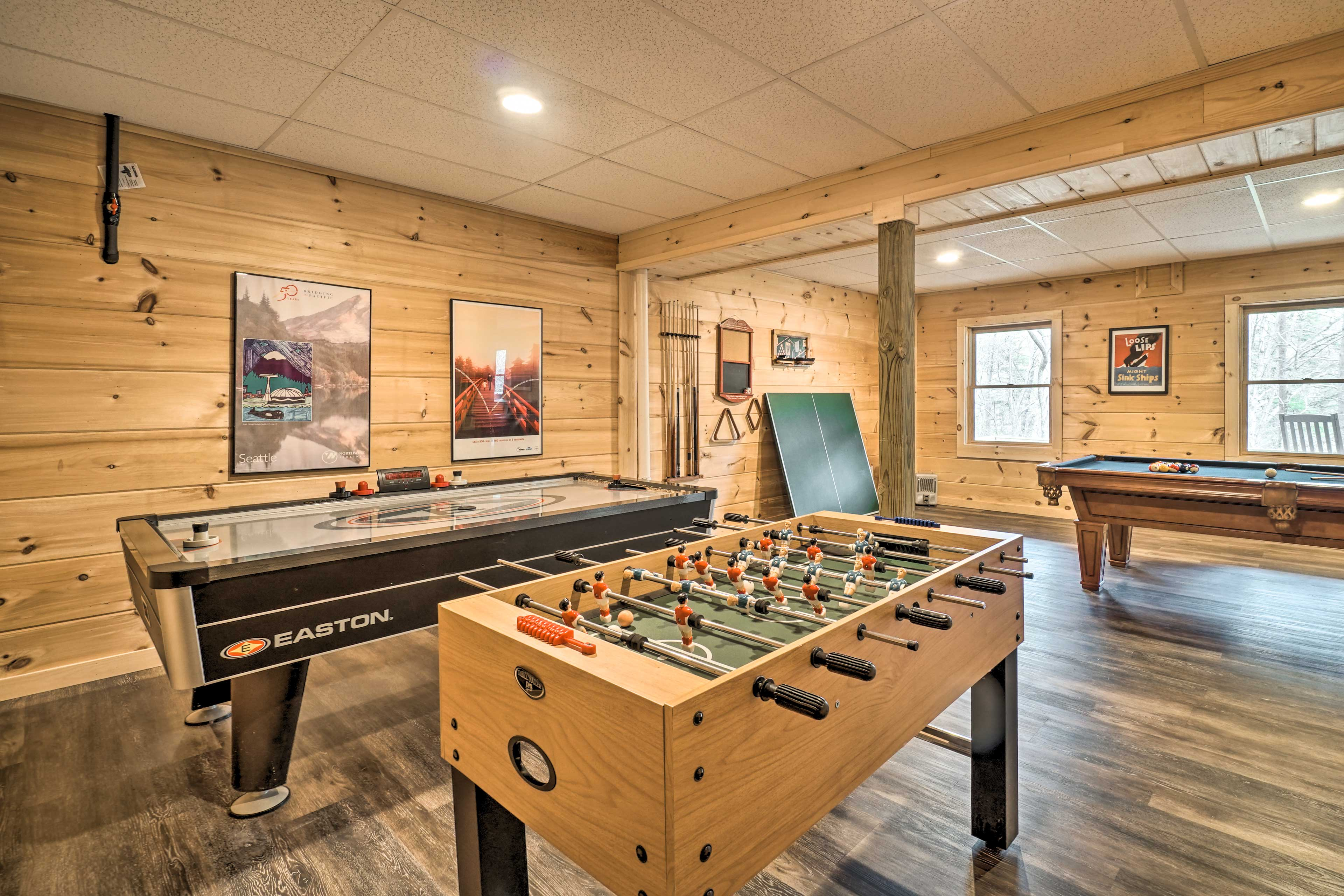 This game room also offers foosball and air hockey.