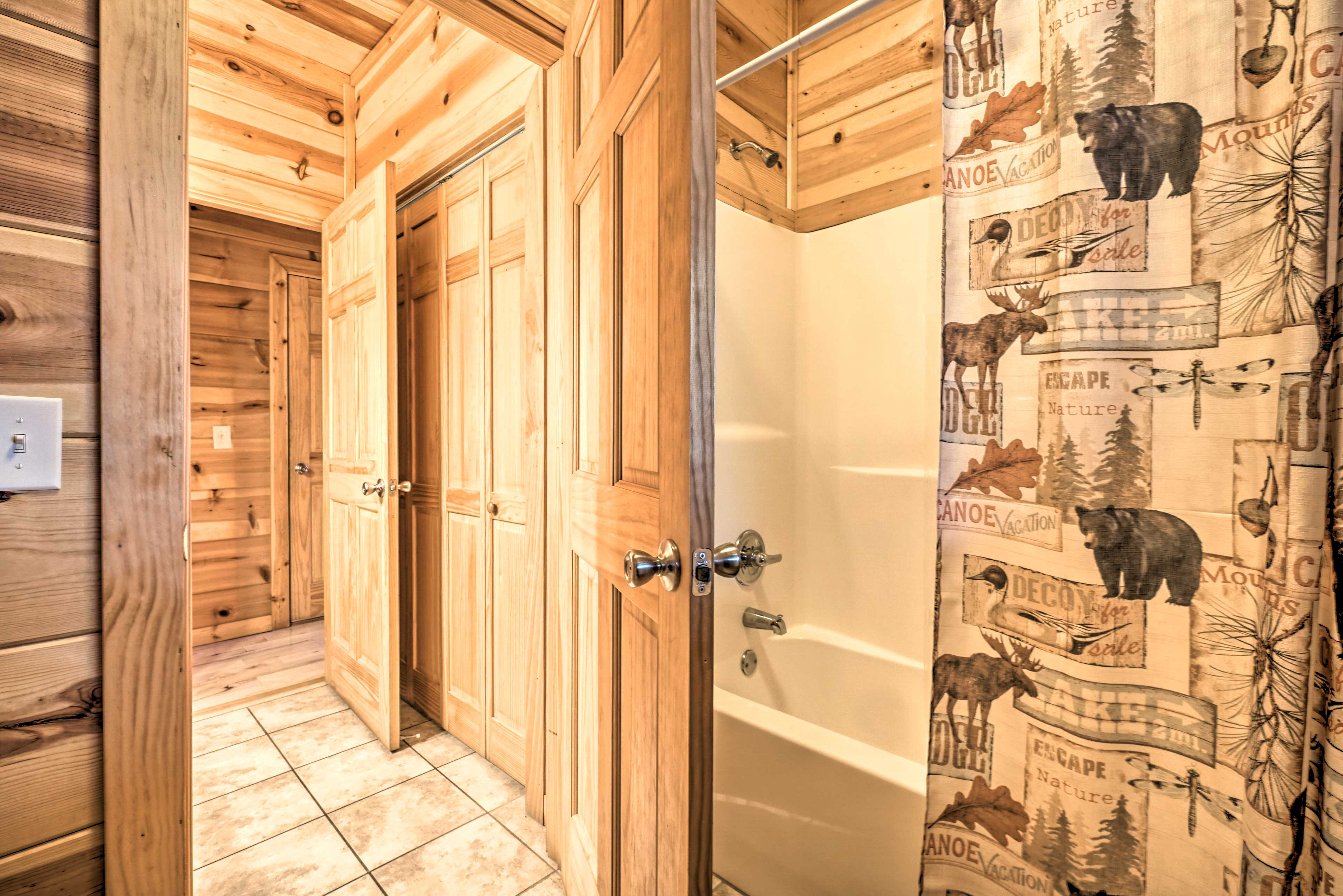 A shower/tub combo completes this bathroom.