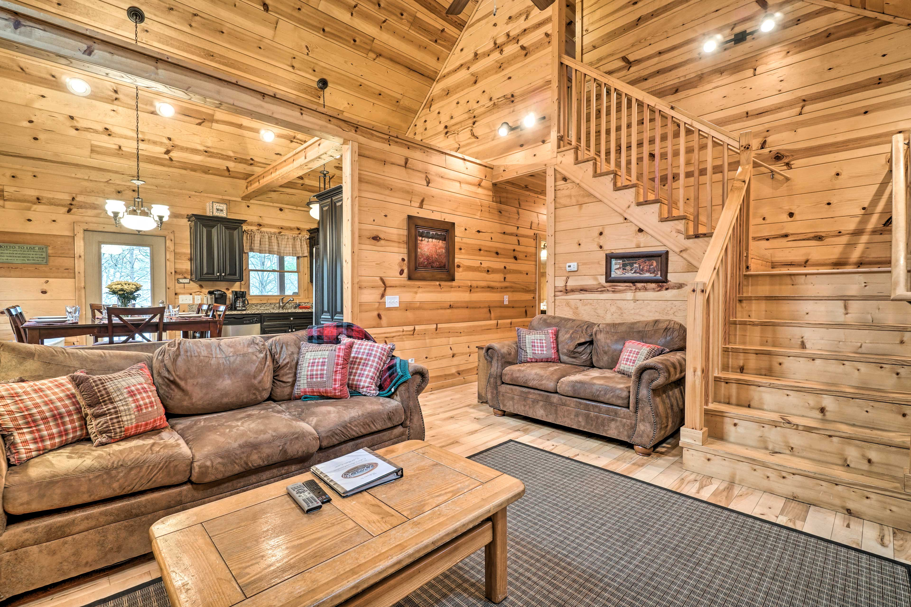 Vaulted ceilings and cedar walls add to the cozy cabin feel.