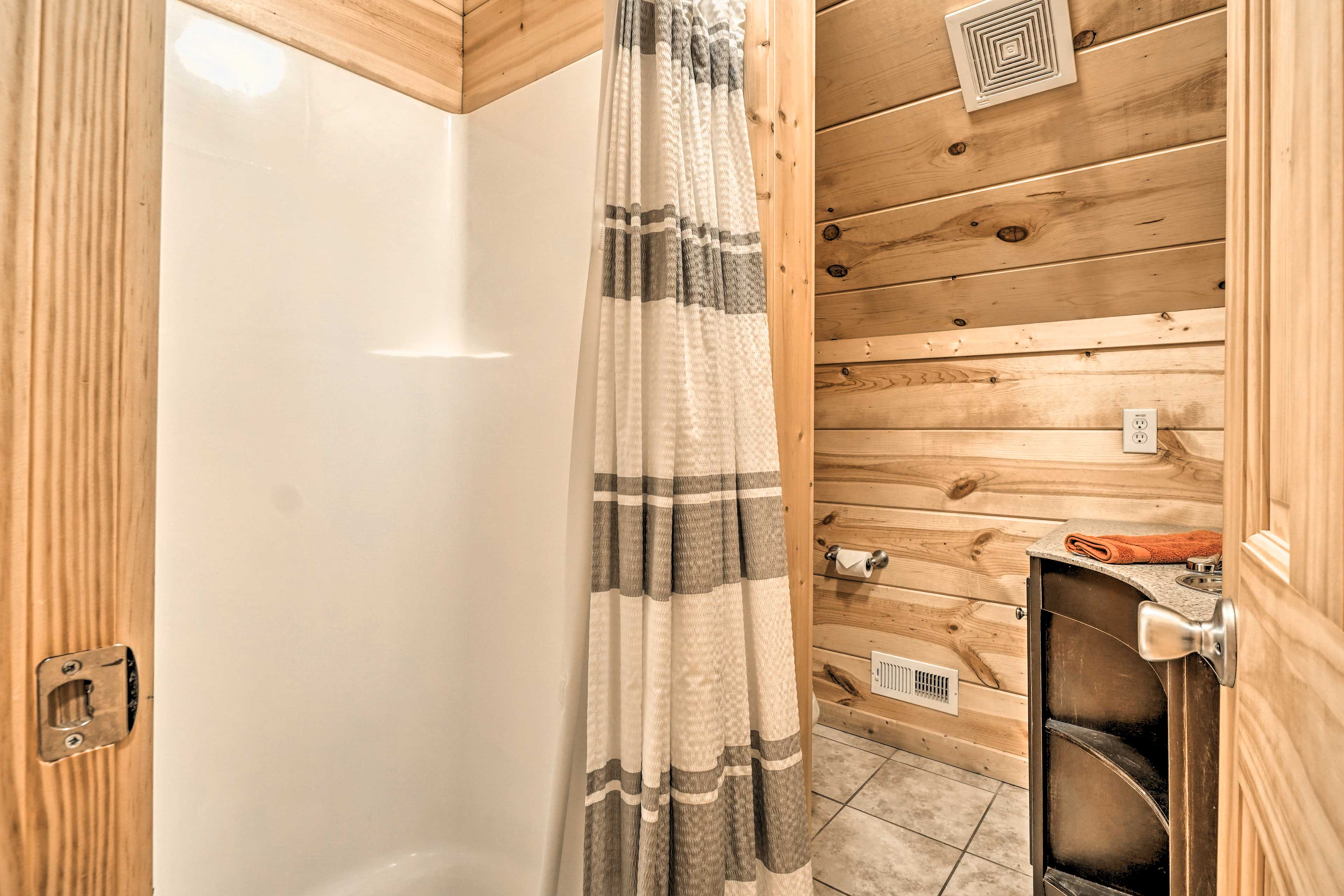 There are 3 bathrooms in this cabin.