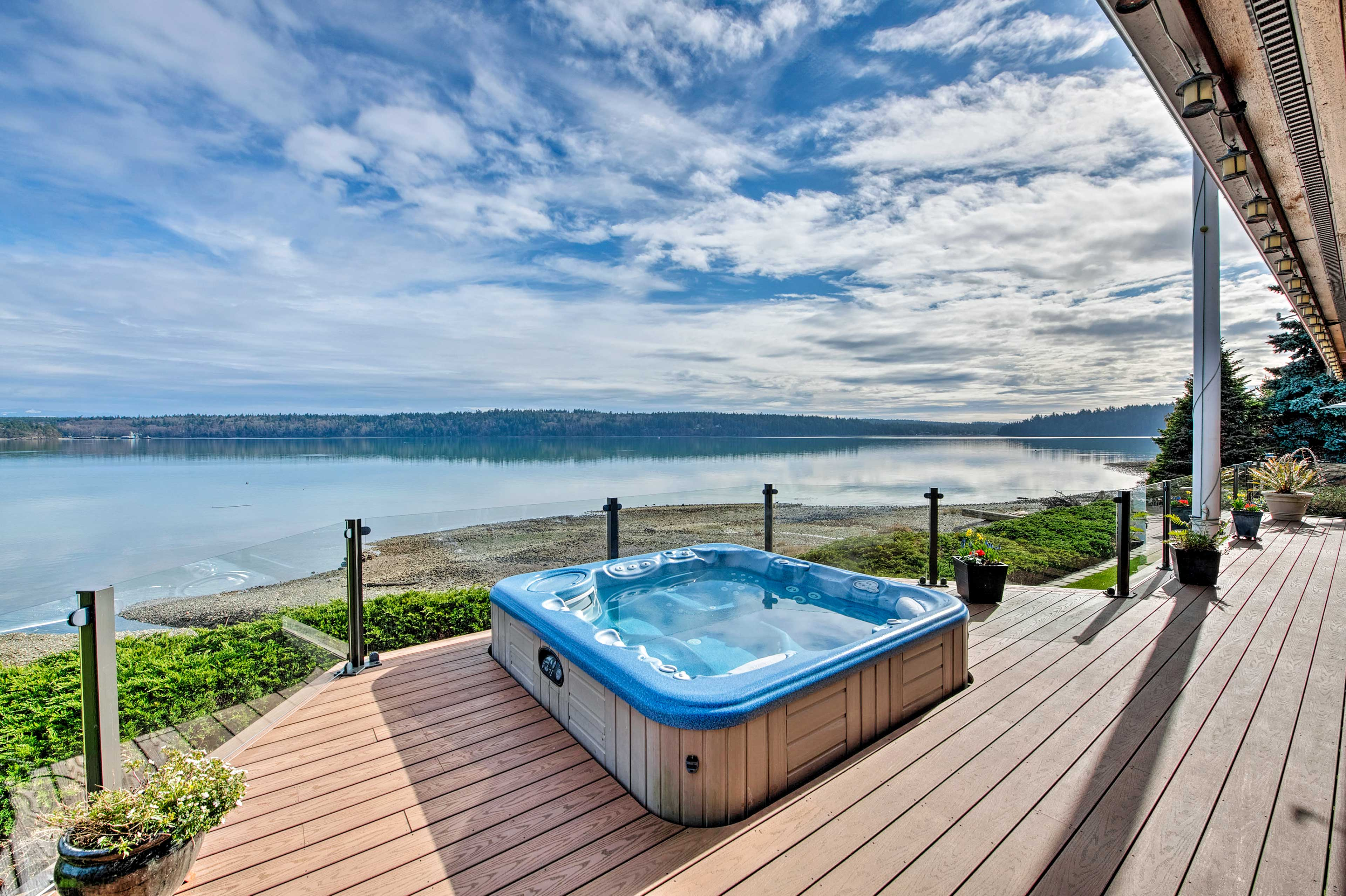 The property has a private hot tub for unwinding.