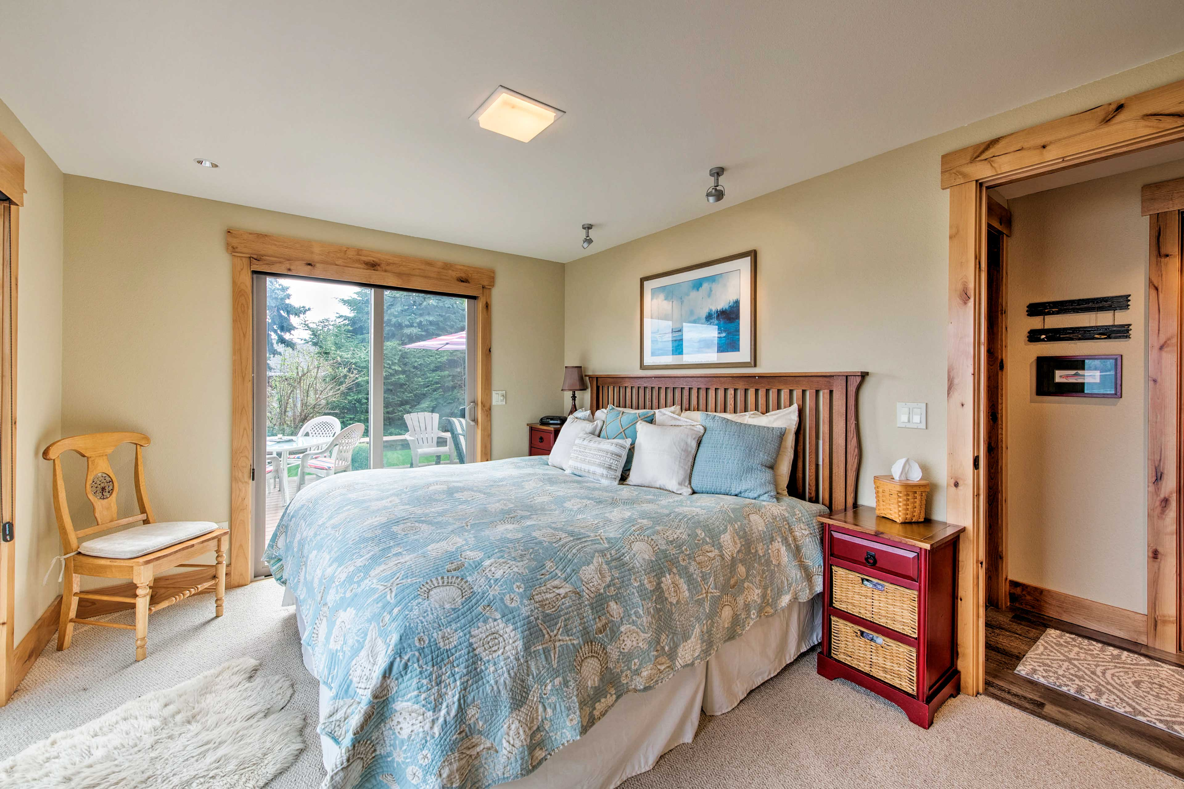 The master bedroom boasts a king bed and its own private deck.