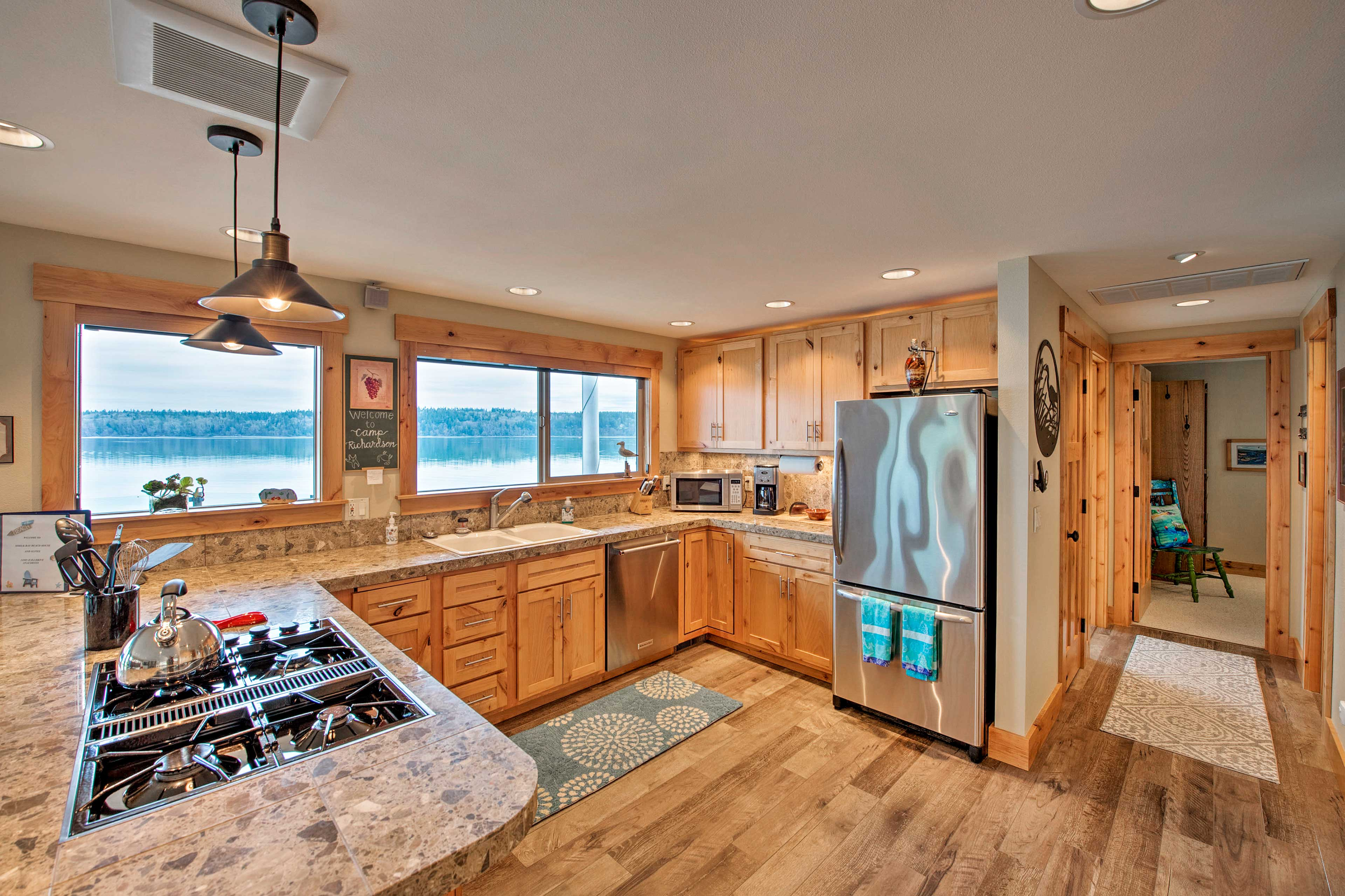 You'll have stainless steel appliances and ample space for cooking.