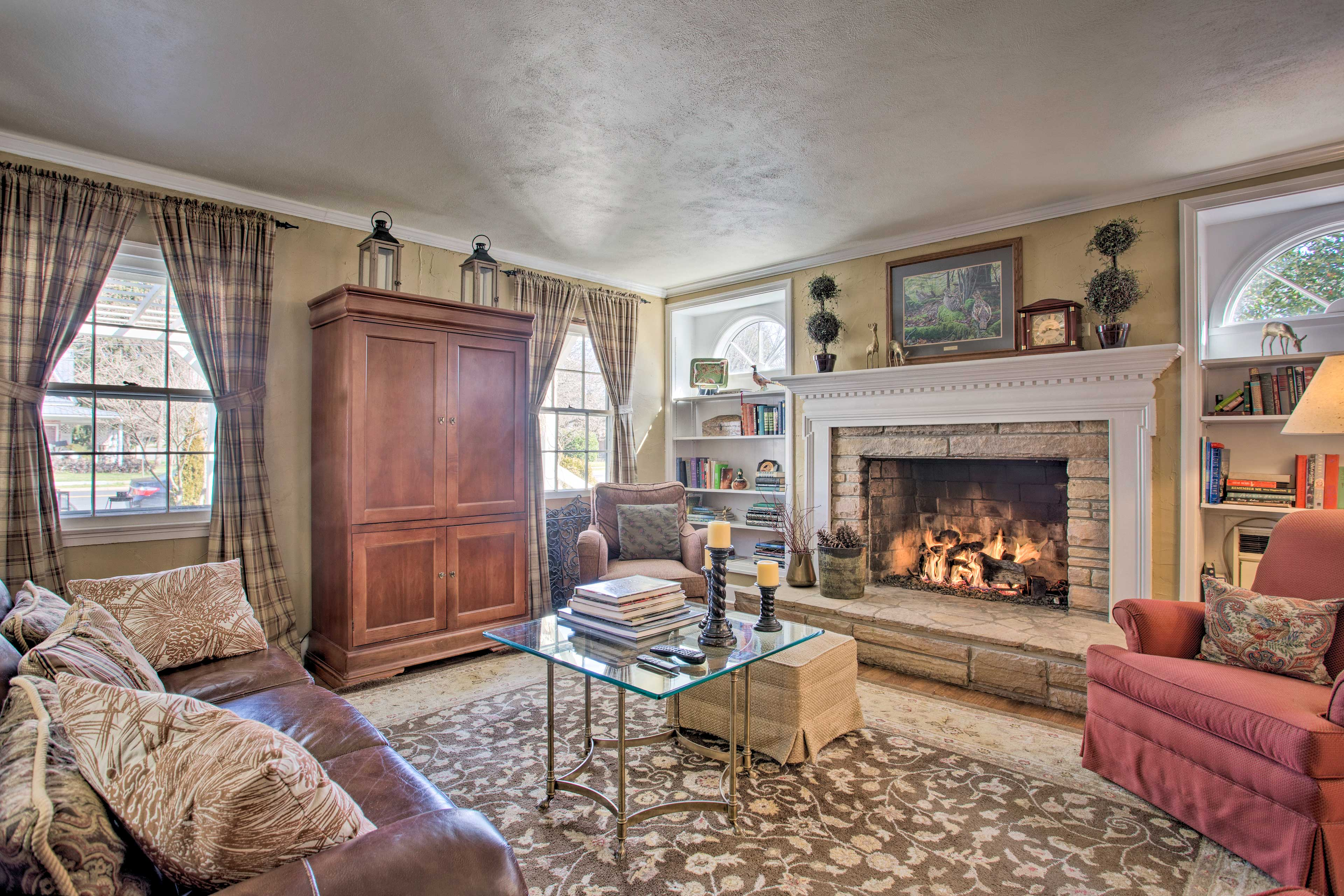 Cozy up by the fireplace on cold nights!