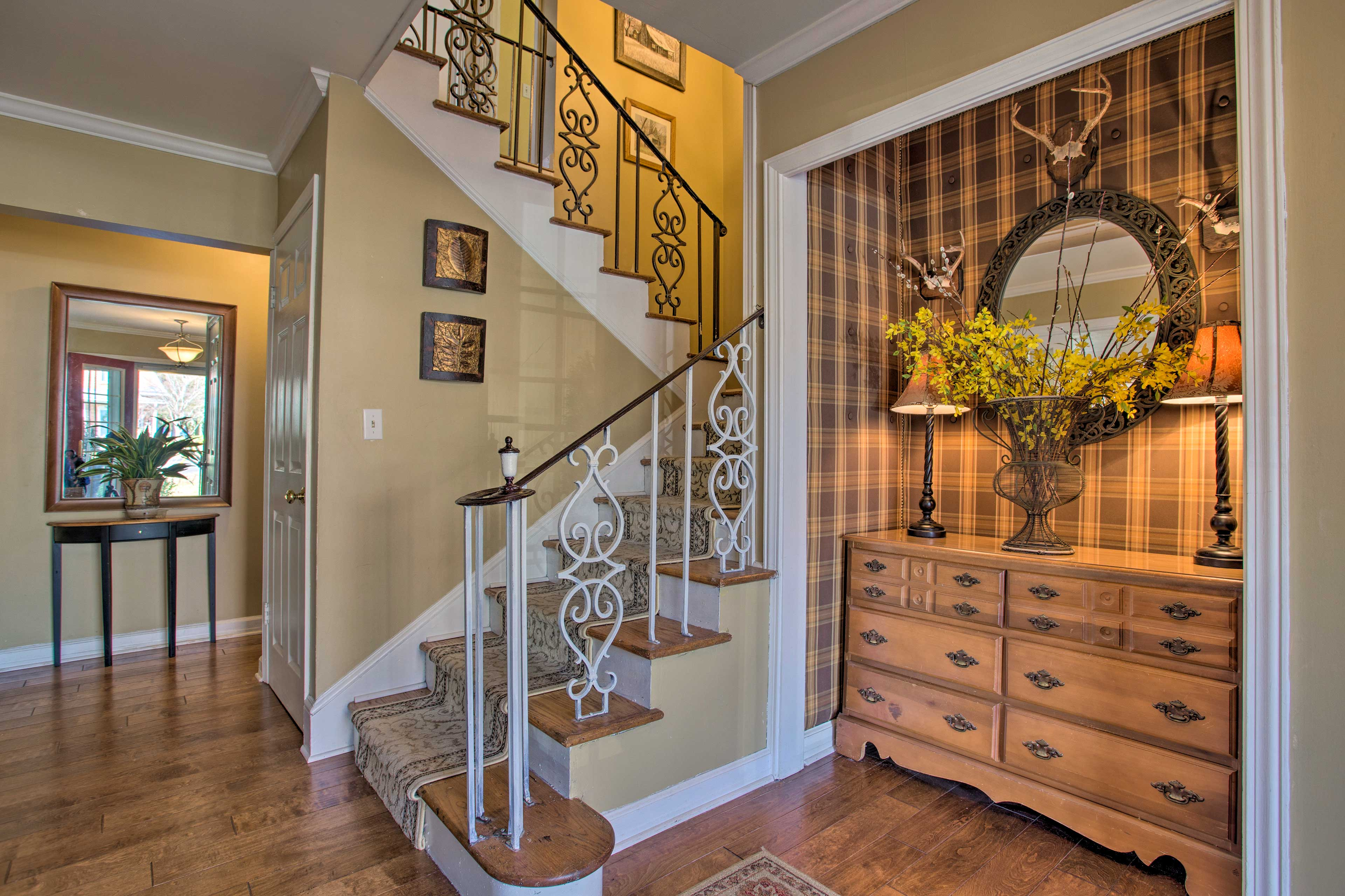 The stairs lead to all of the bedrooms except for Contree Loop.