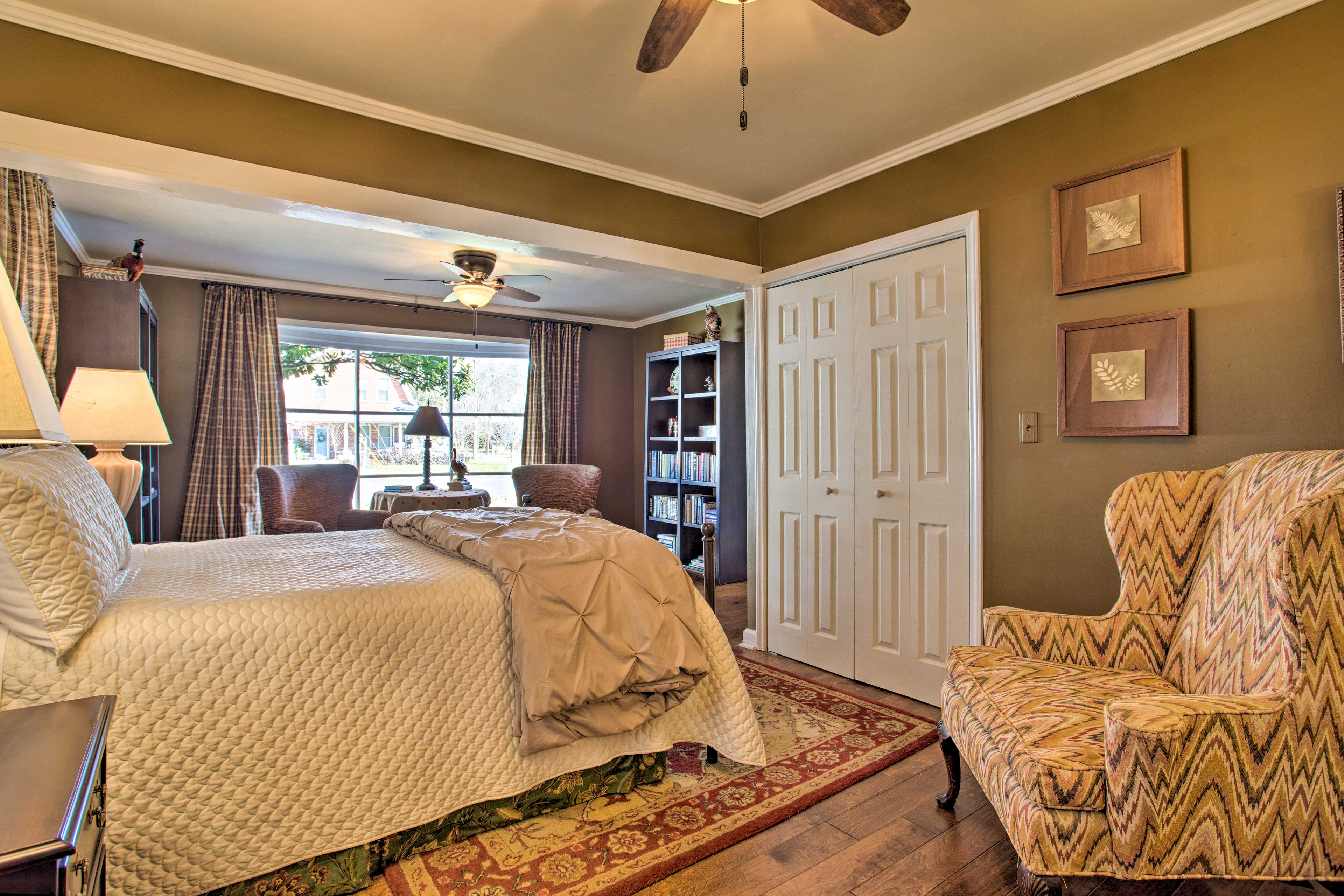 The home features ceiling fans for those warm summer days.