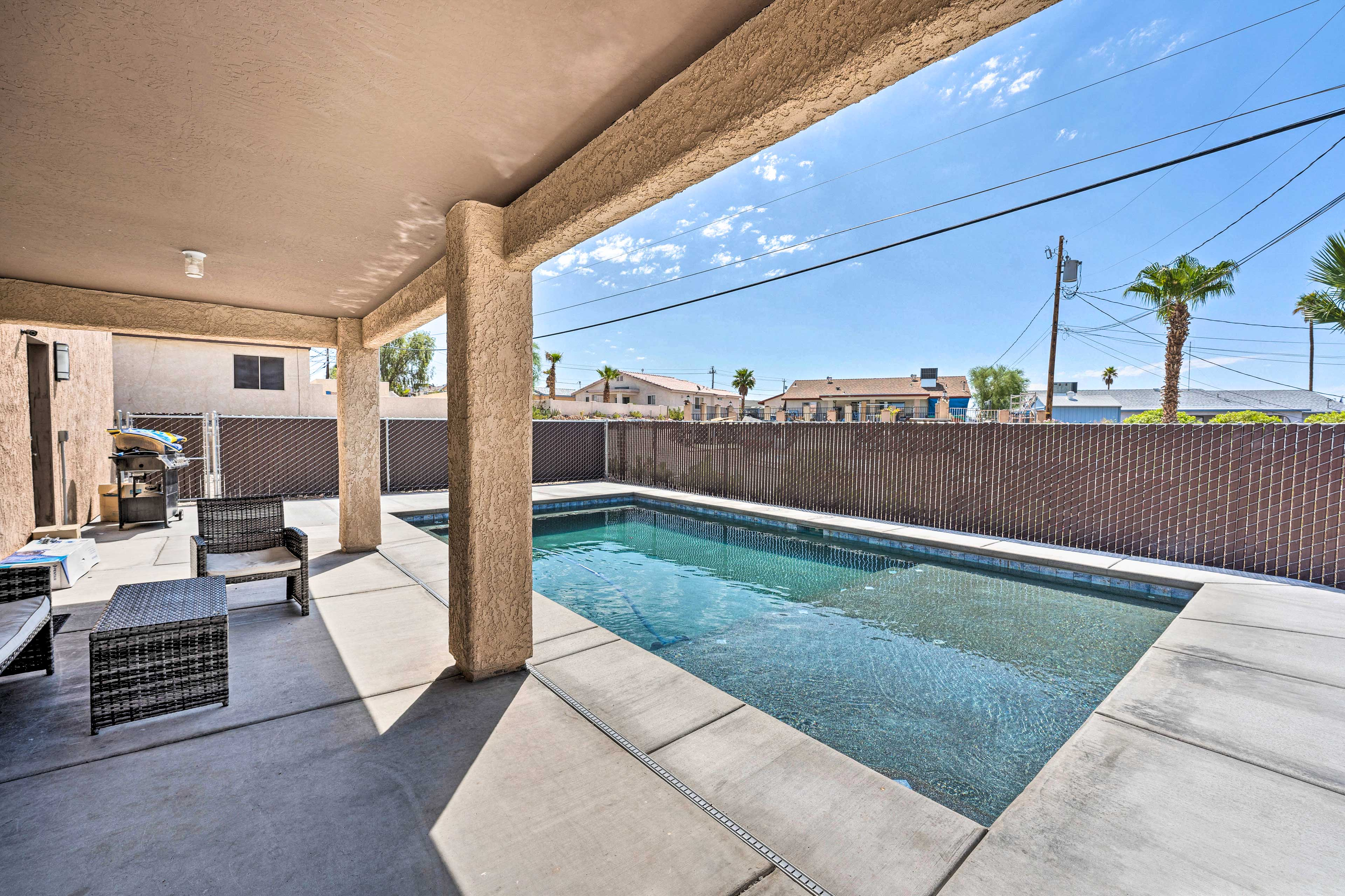 Private Covered Patio   Fenced Backyard   Pool