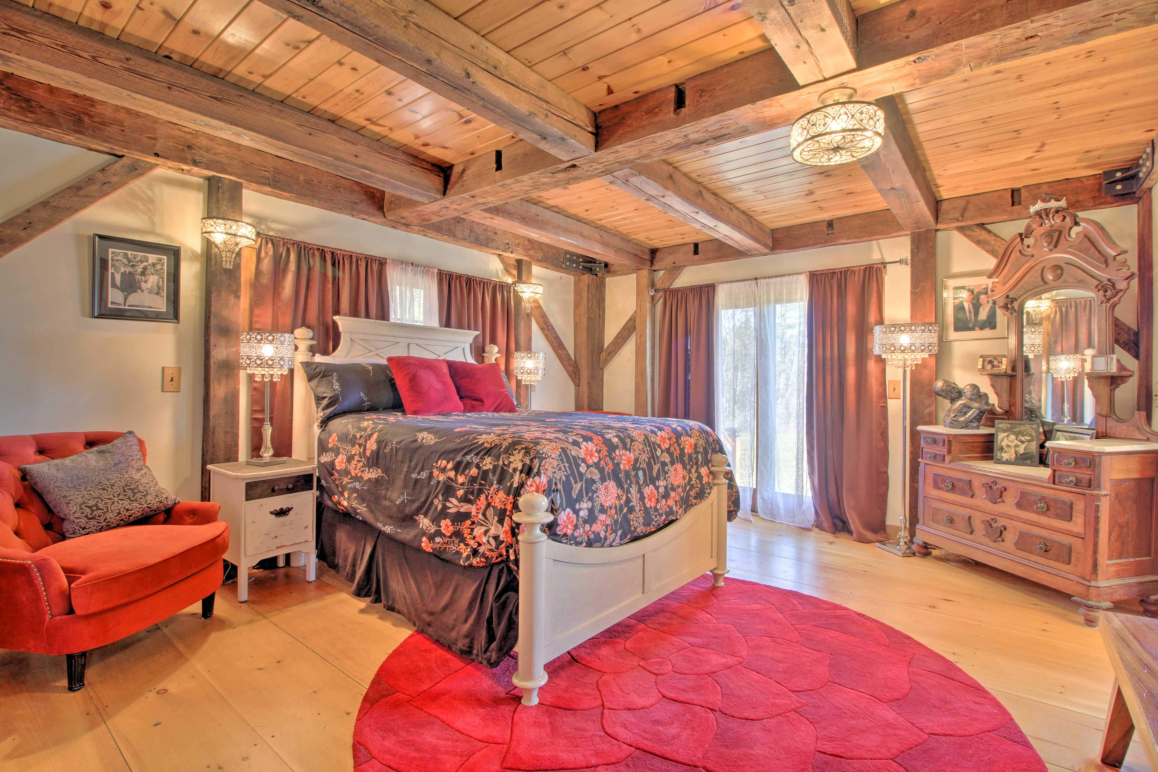 The Queen room has a queen-sized bed and private patio.