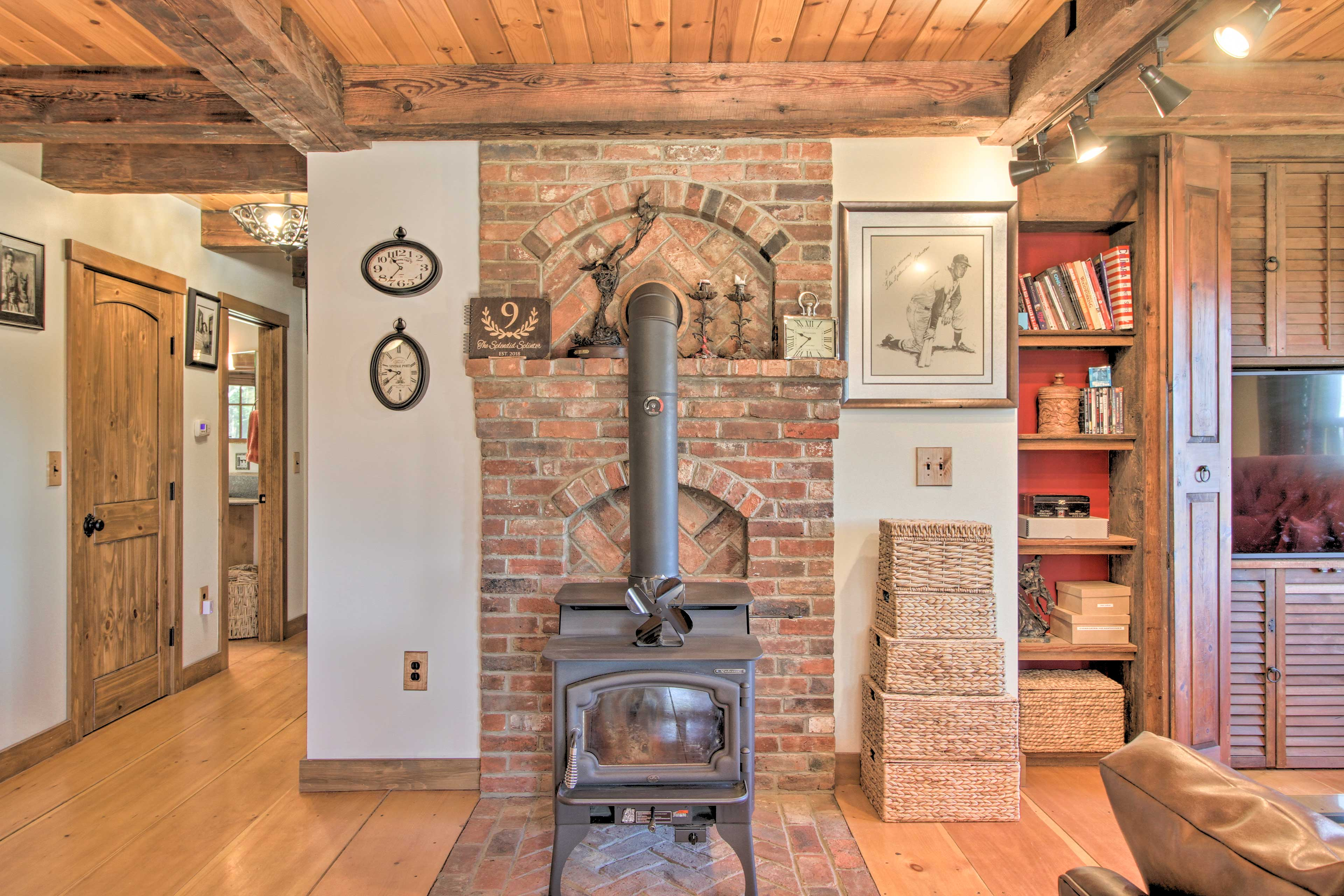Cozy around the authentic wood-burning stove to stay warm in the winter!