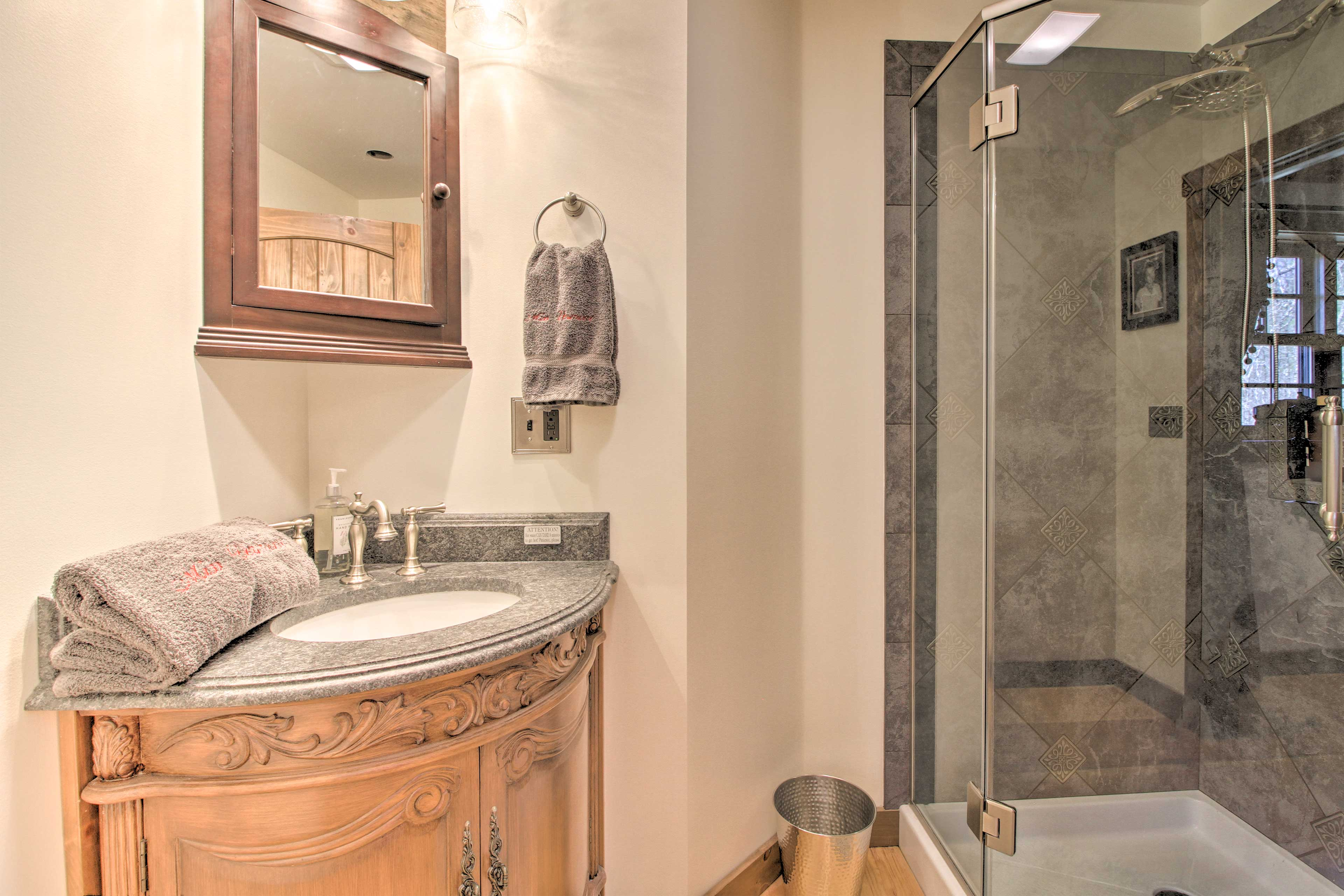 The master bathroom has a walk-in shower.