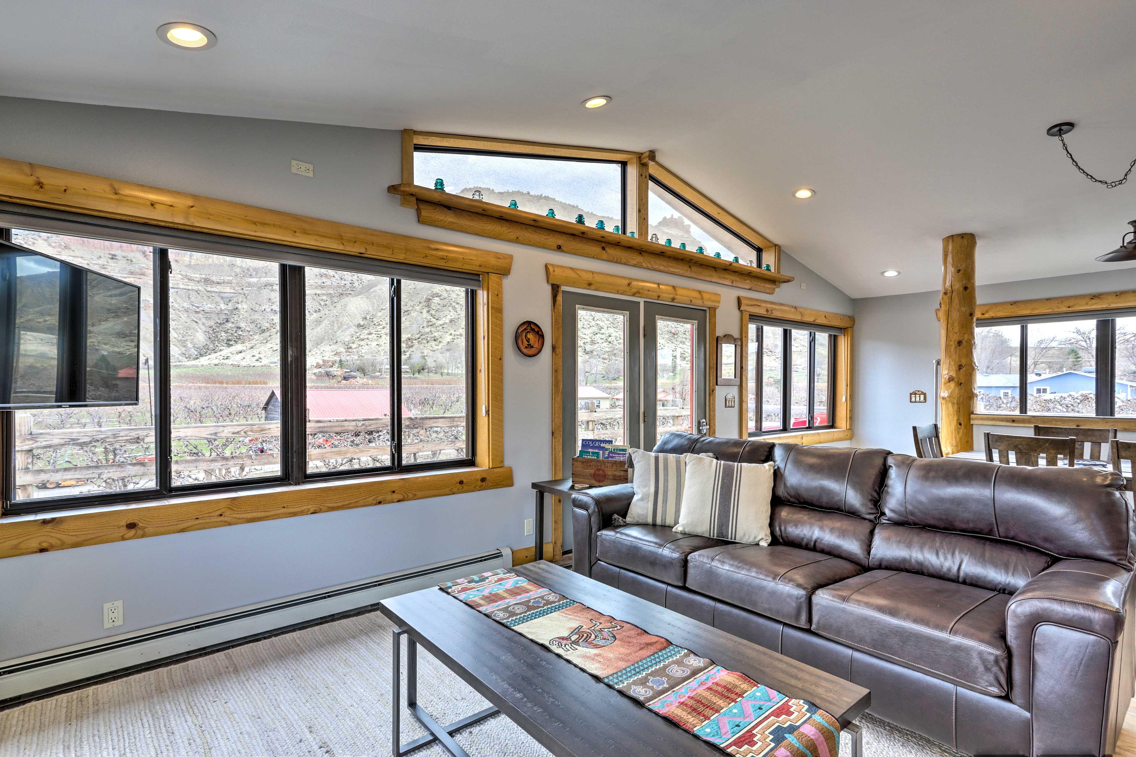 Natural light illuminates the interior of this cozy cottage.