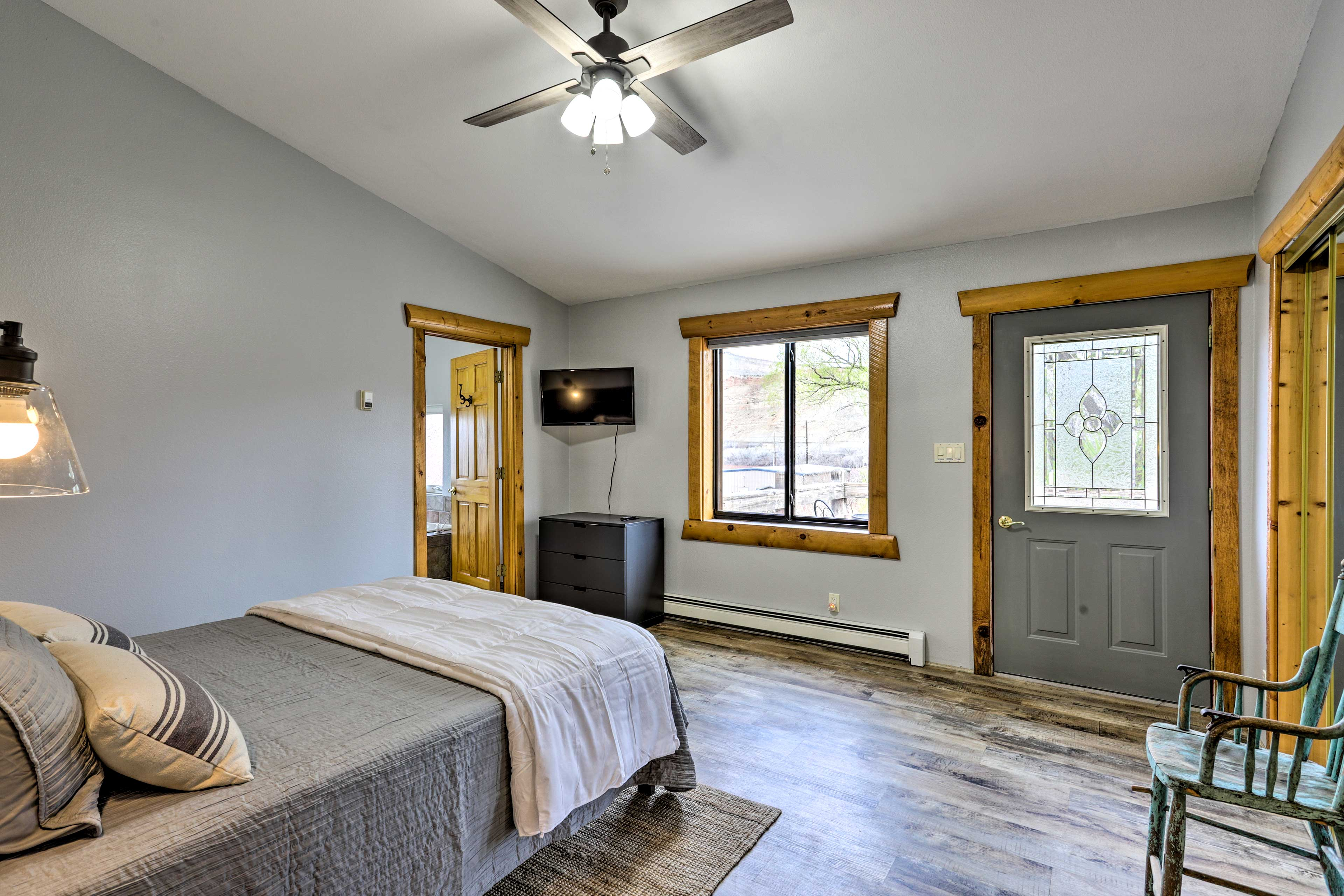 Claim the master bedroom for your stay.