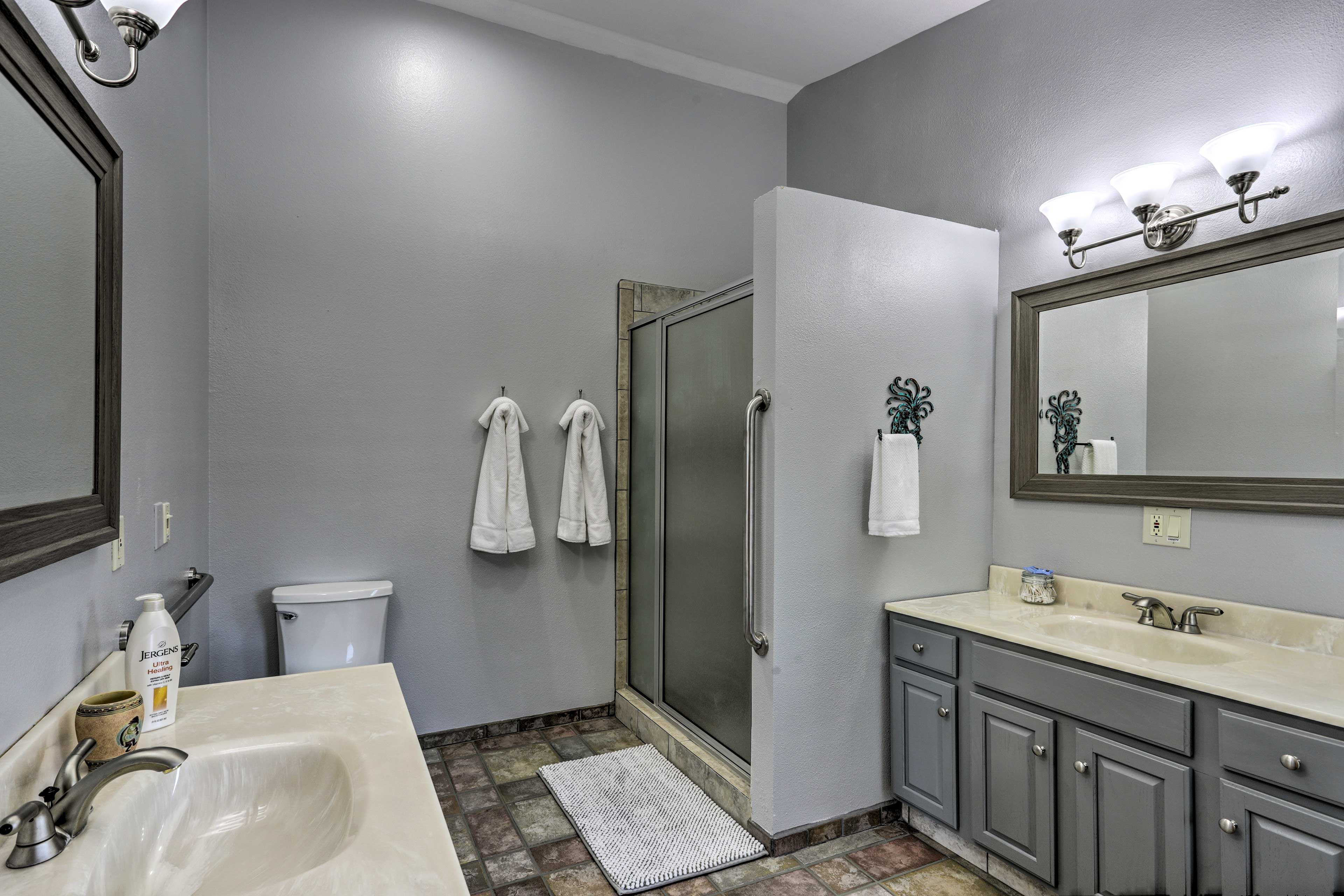 The walk-in shower offers another way to freshen up!