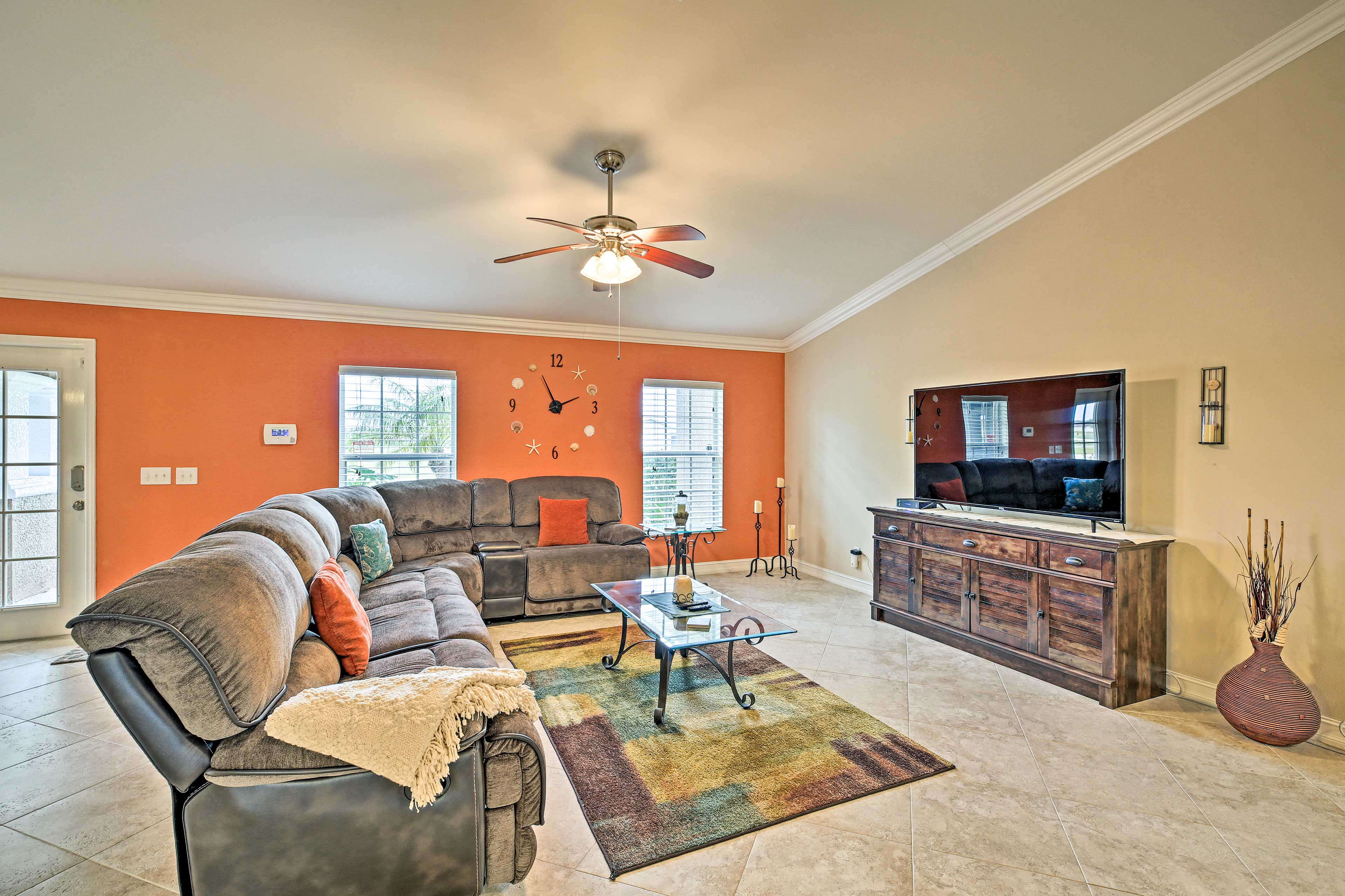There are 3 bedrooms, 2 bathrooms, and space for 6 guests.