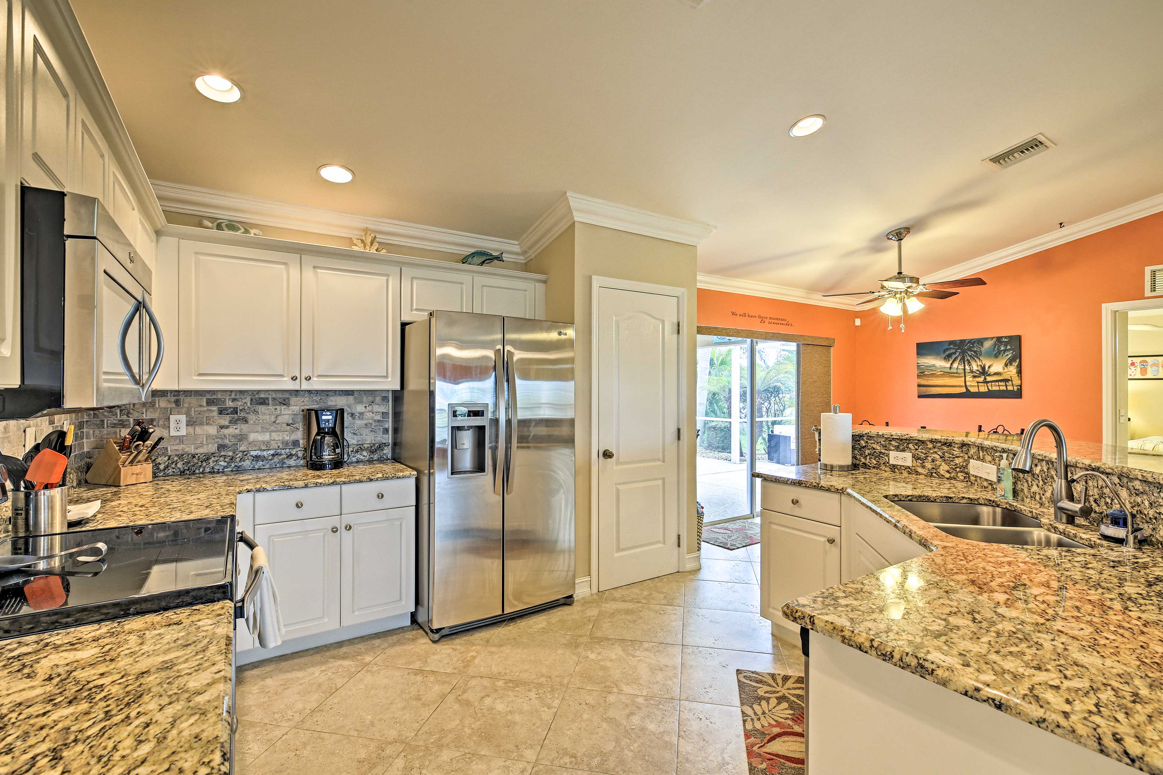 Whip up something everyone will love with the stainless steel appliances.
