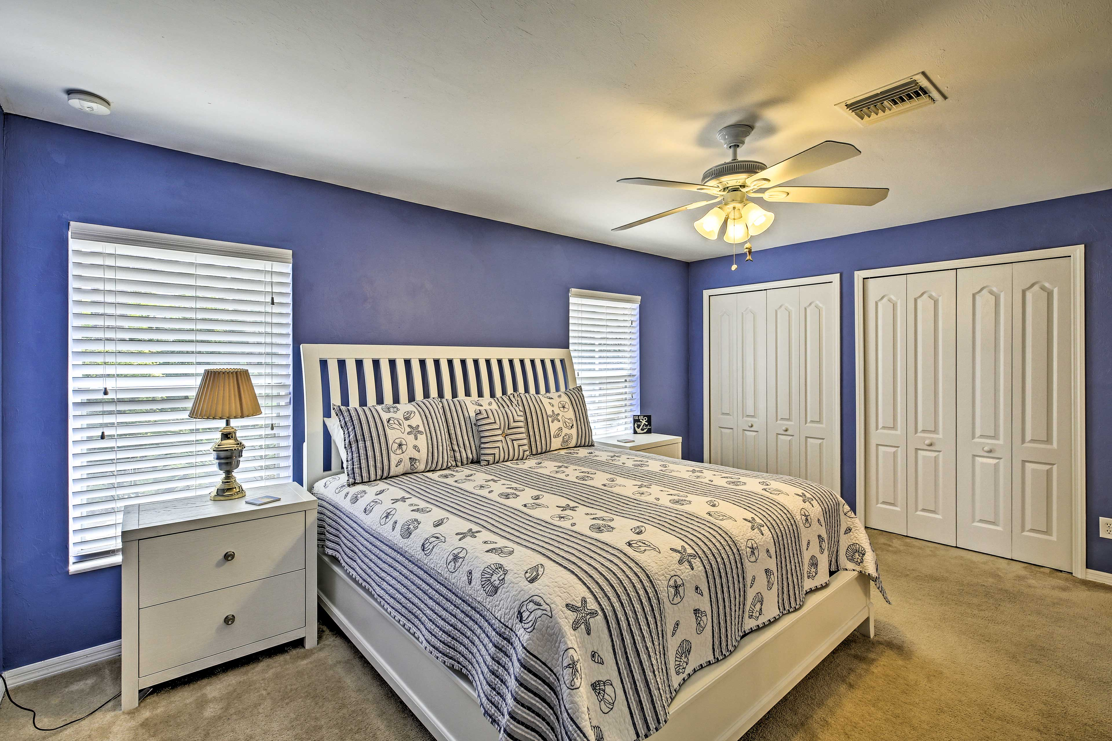 Retire to the master bedroom.