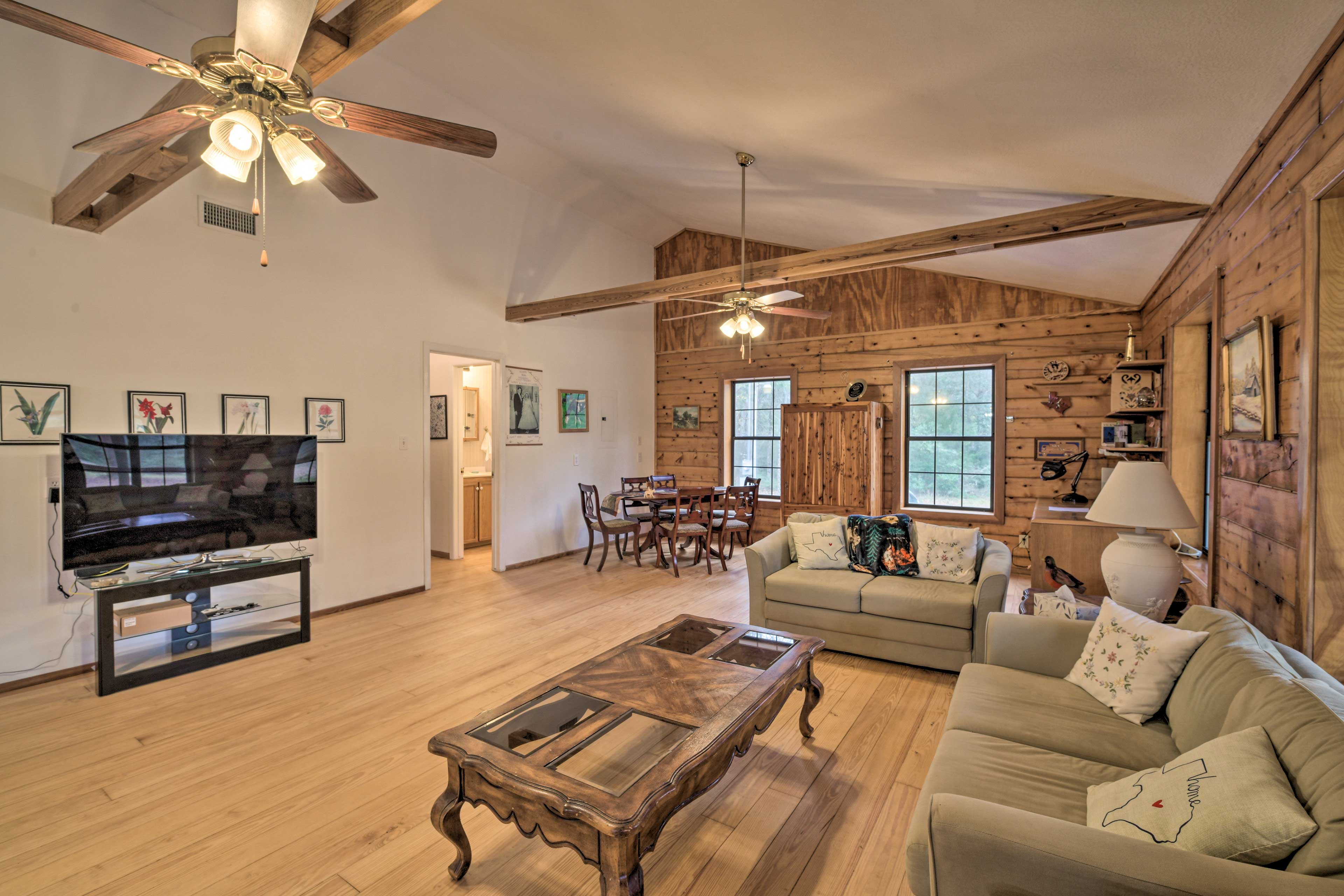 This vacation rental cabin hosts up to 8 guests.