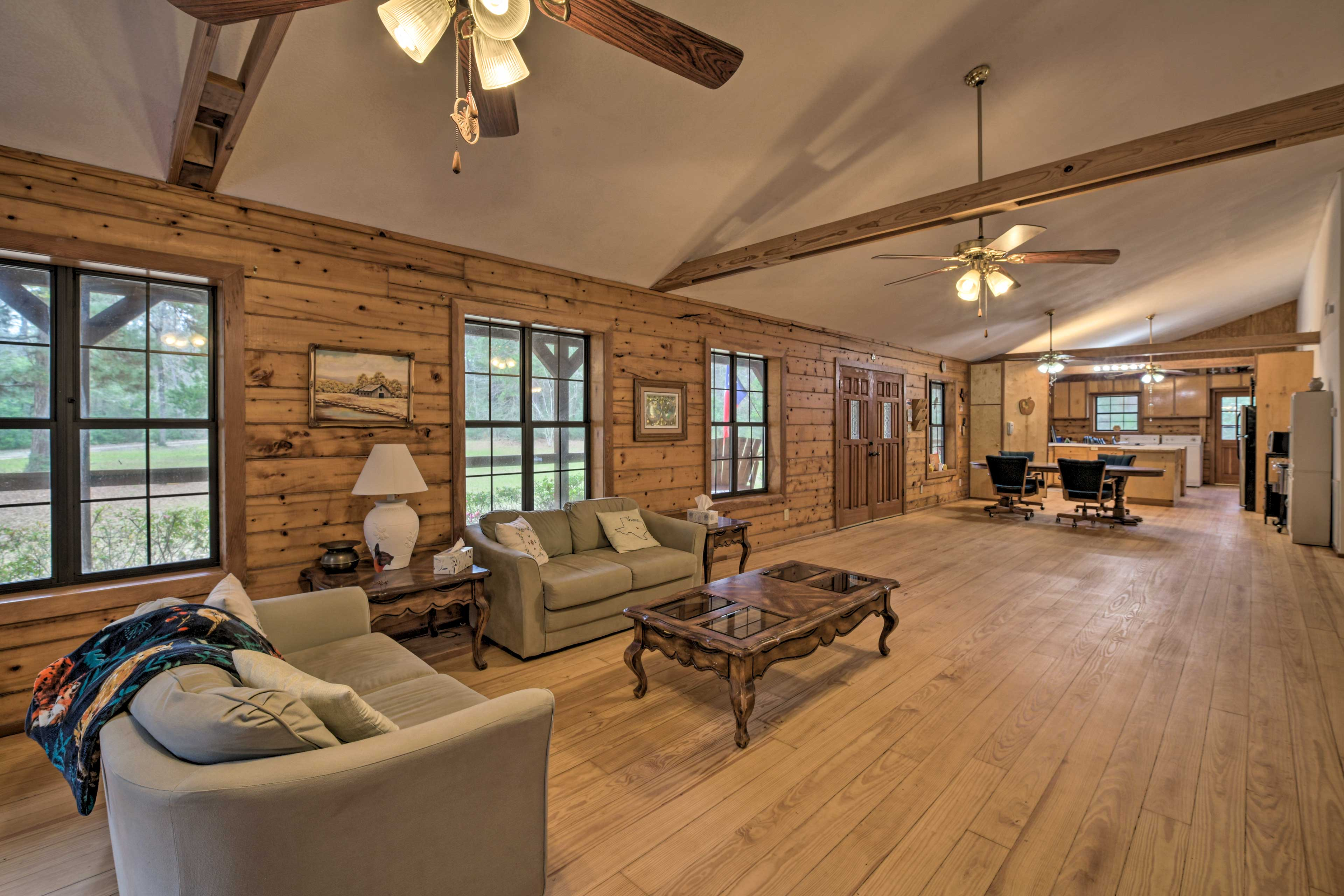 There is plenty of room to lounge around in this cabin.