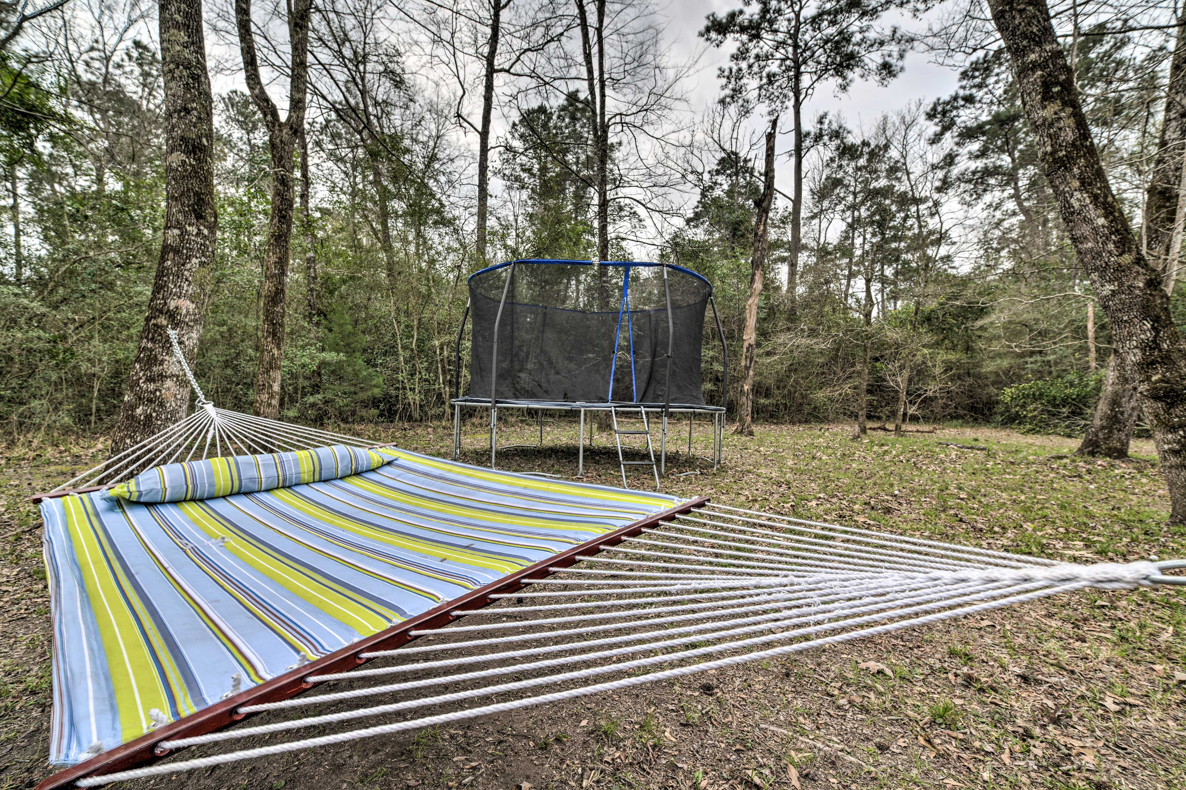 Spend time outside on and breathe in the fresh air on the hammock.