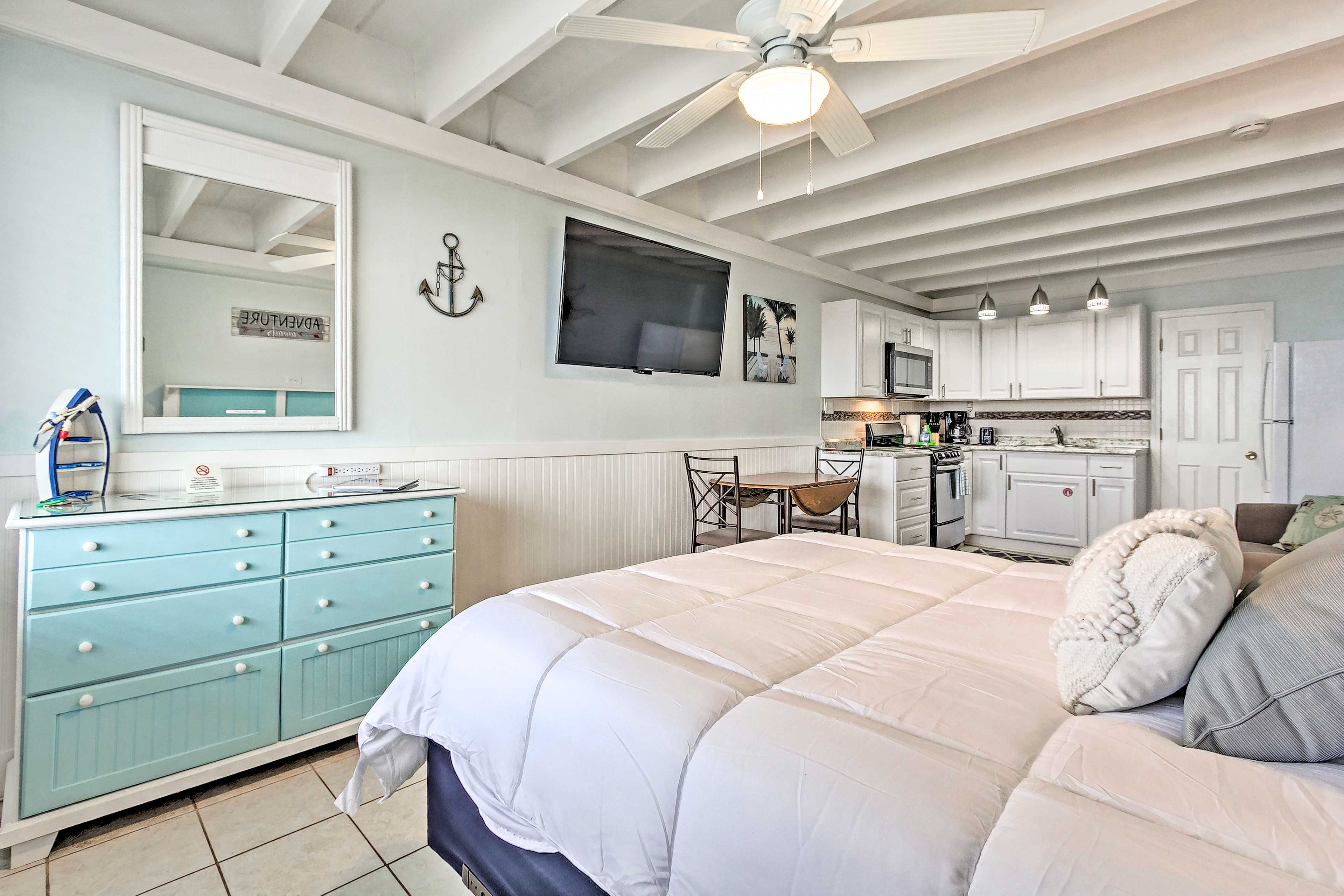 Enjoy the nautical decor and color palette inside this vacation rental.
