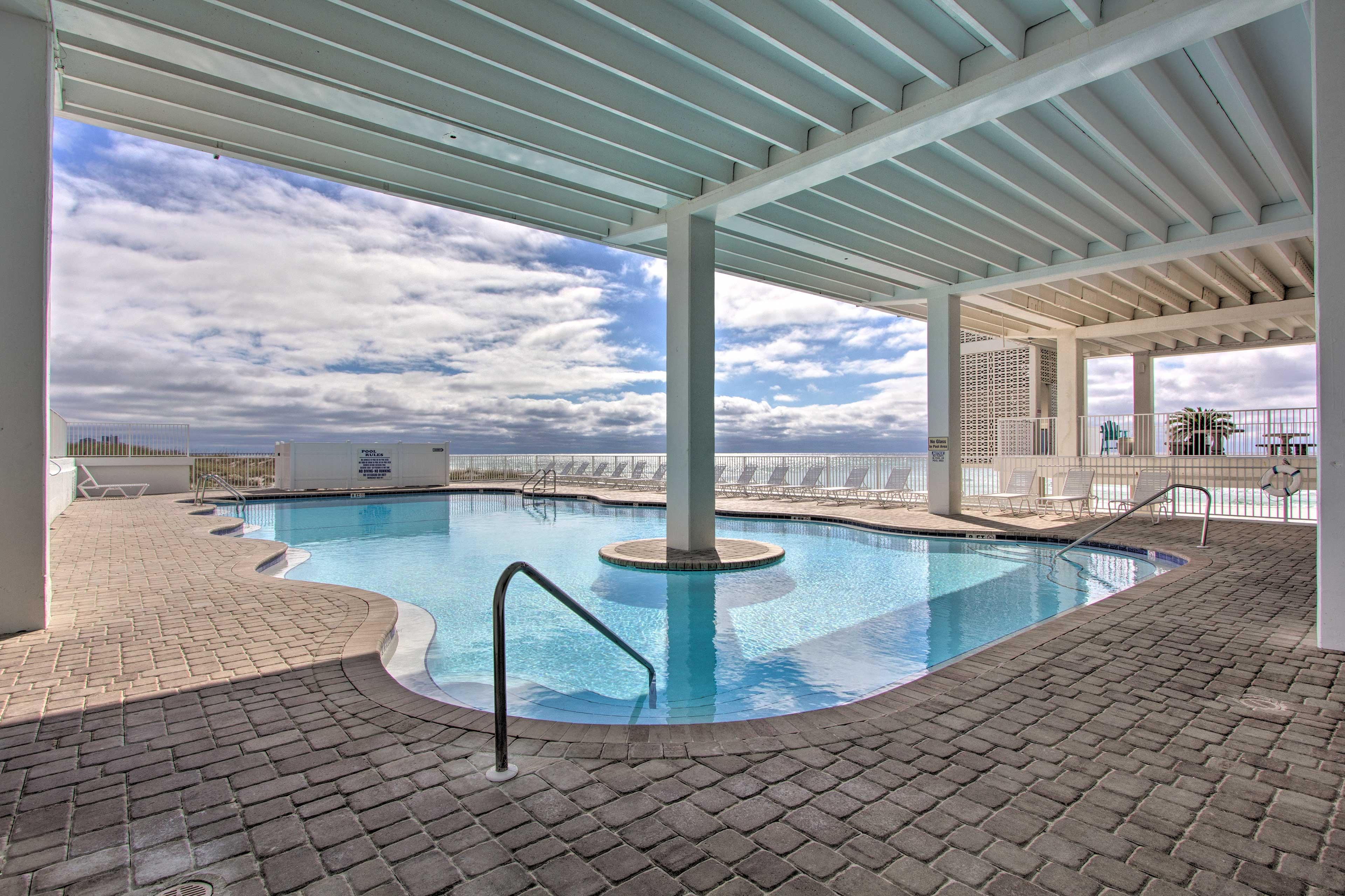 Swim a few laps in the community pool.
