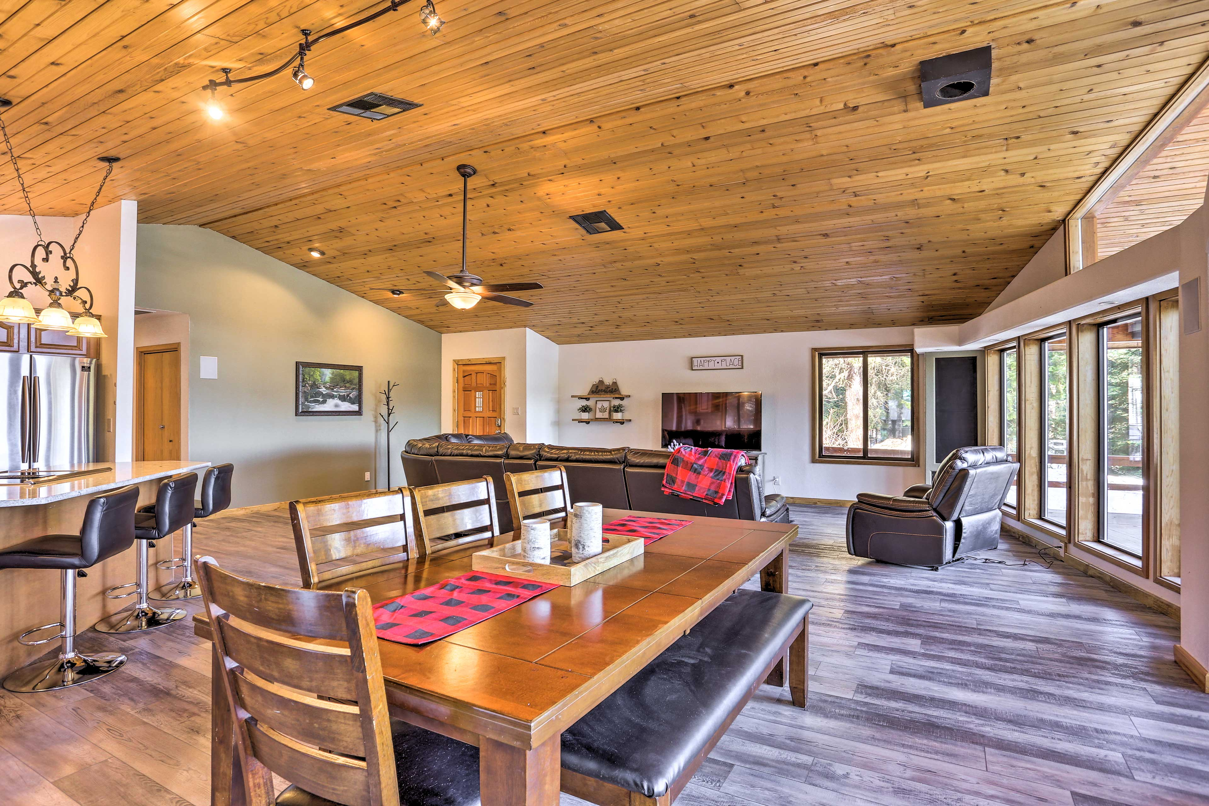 Have a sit-down meal at the farmhouse-style dining table!